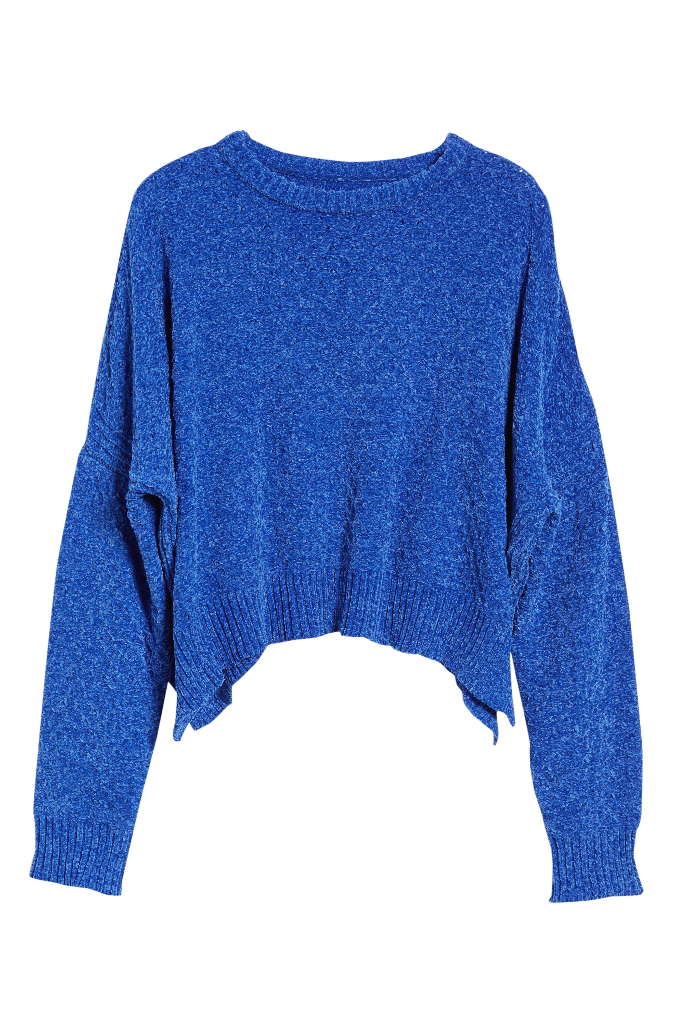 Chenille Sweater,                             Alternate thumbnail 7, color,                             Electric Blue