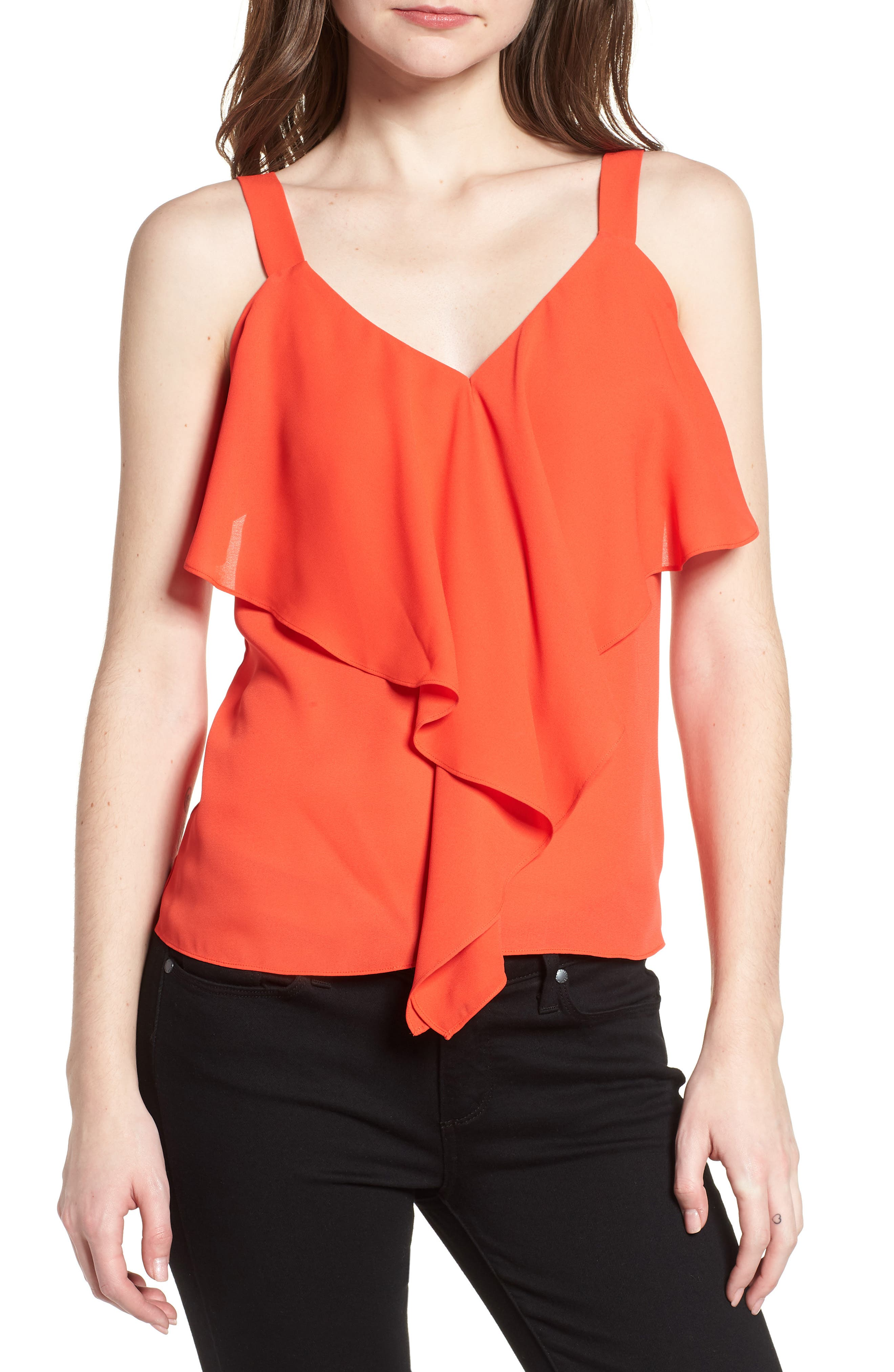 Ruffle Front Tank,                         Main,                         color, Red Poppy