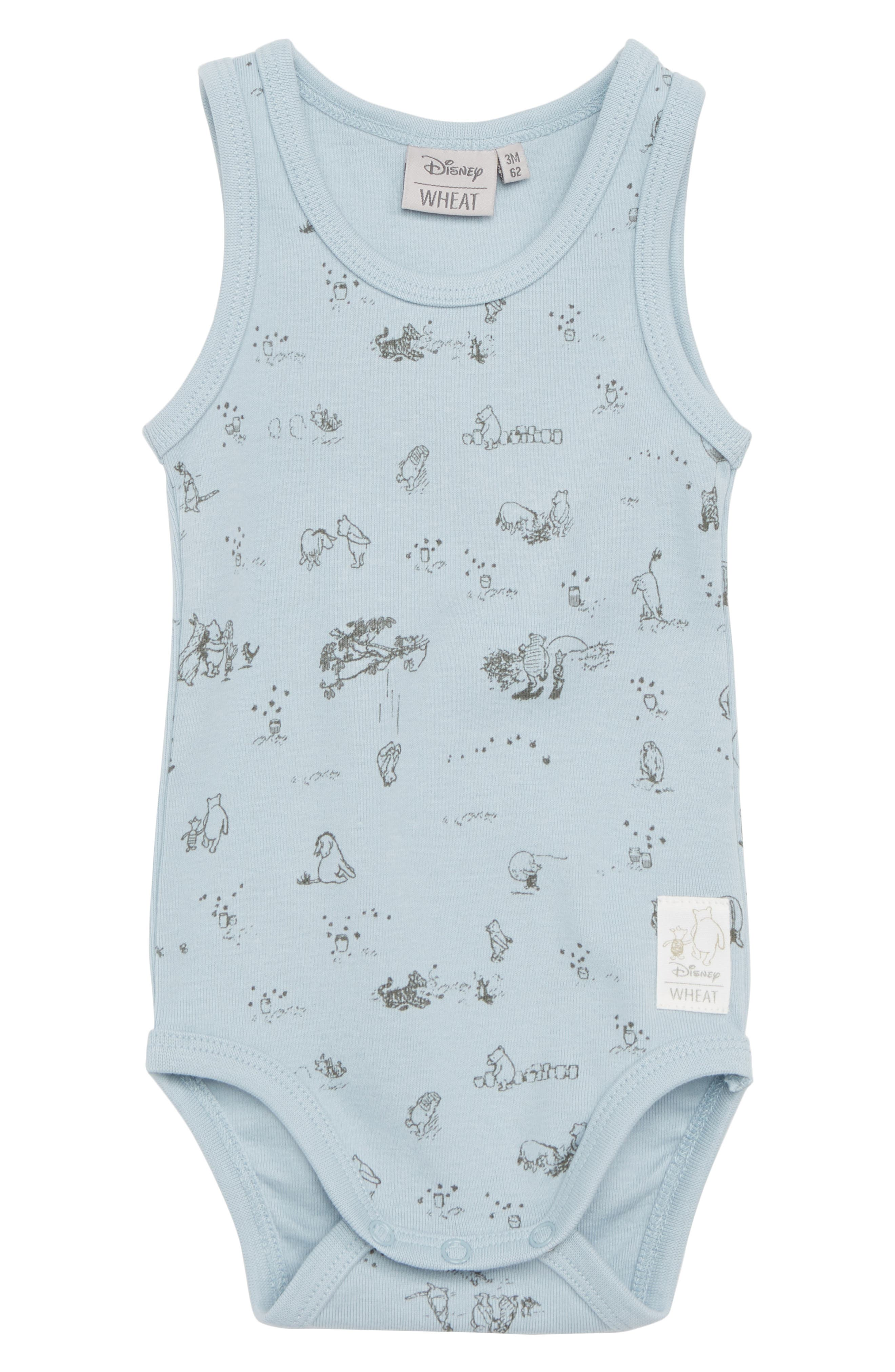 x Disney<sup>®</sup> Winnie the Pooh Organic Cotton Bodysuit,                             Main thumbnail 1, color,                             Sky