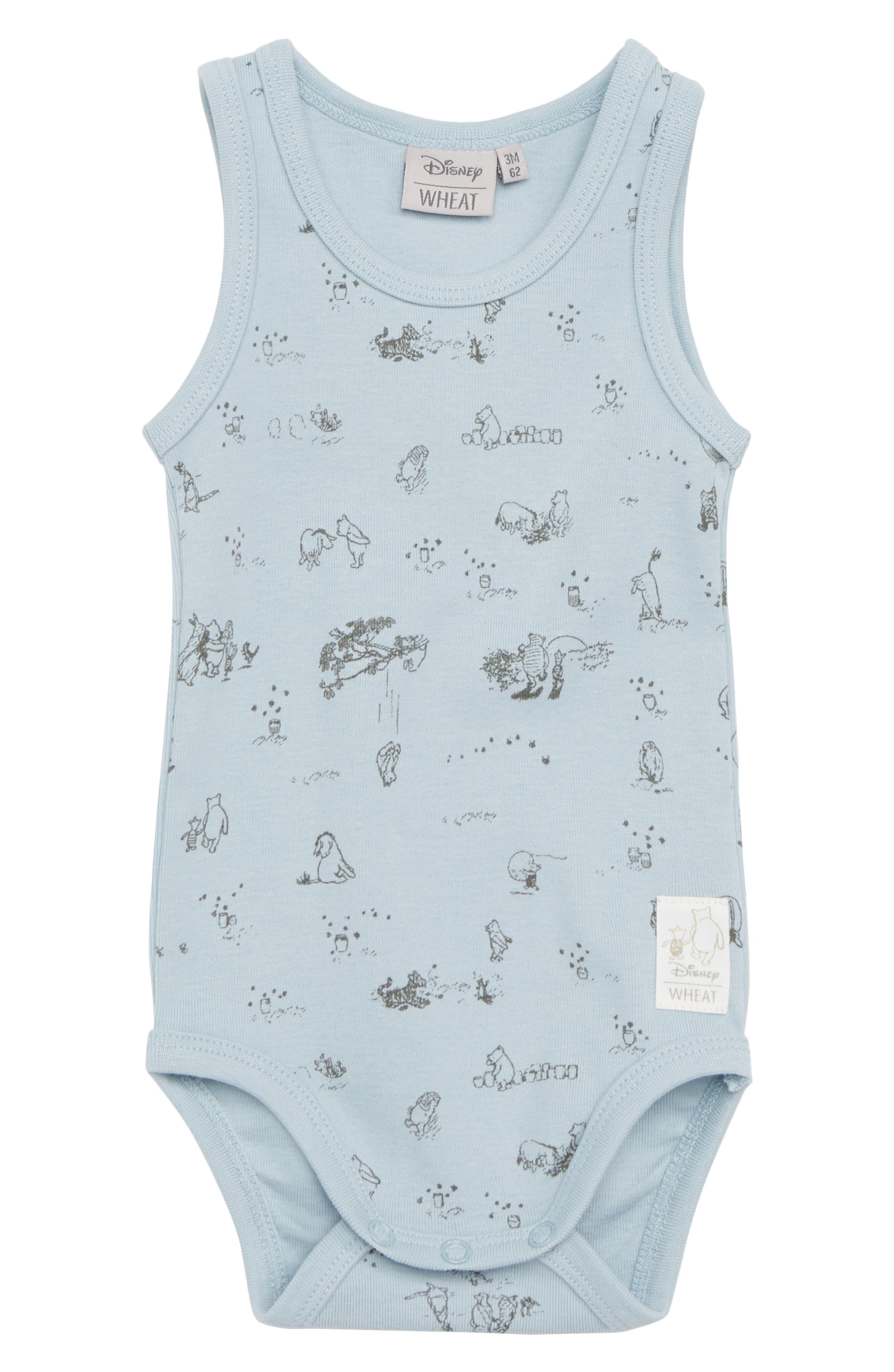 x Disney<sup>®</sup> Winnie the Pooh Organic Cotton Bodysuit,                         Main,                         color, Sky