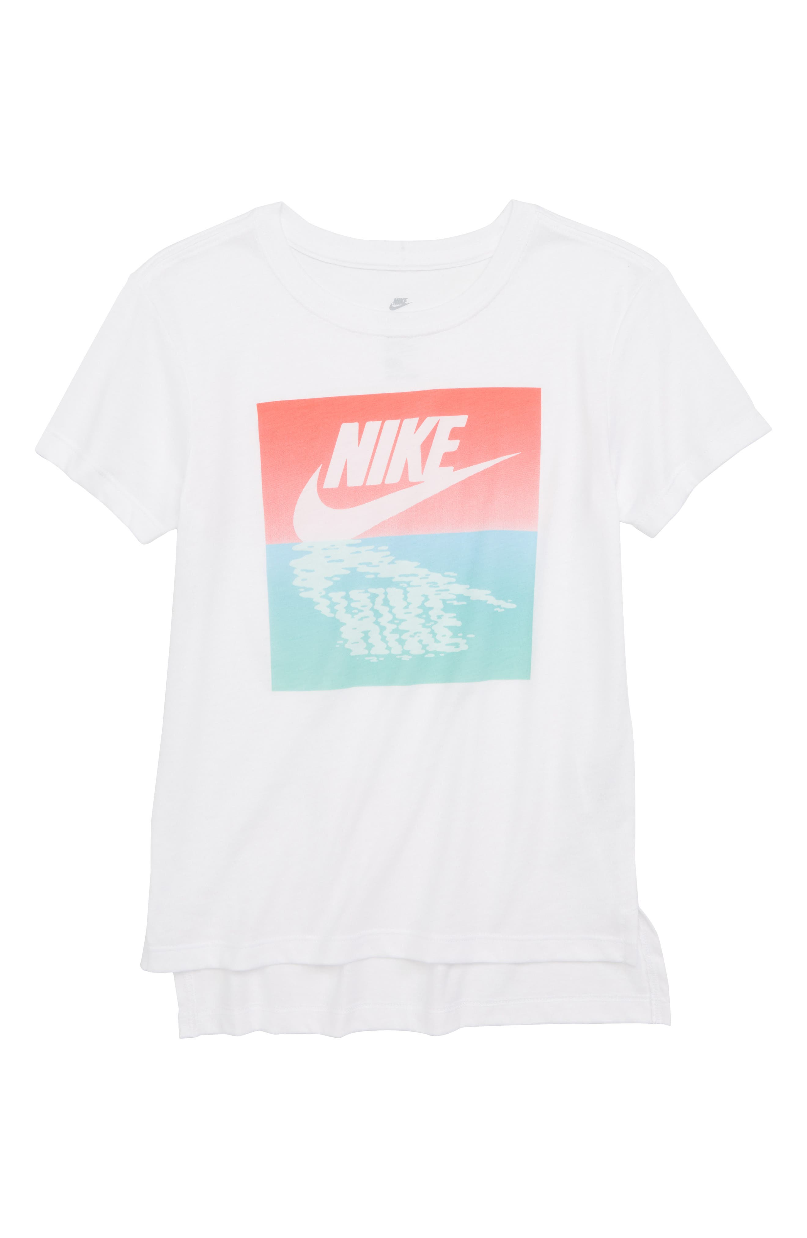 Sportswear Sunset Logo Graphic Tee,                             Main thumbnail 1, color,                             White/ Rush Coral