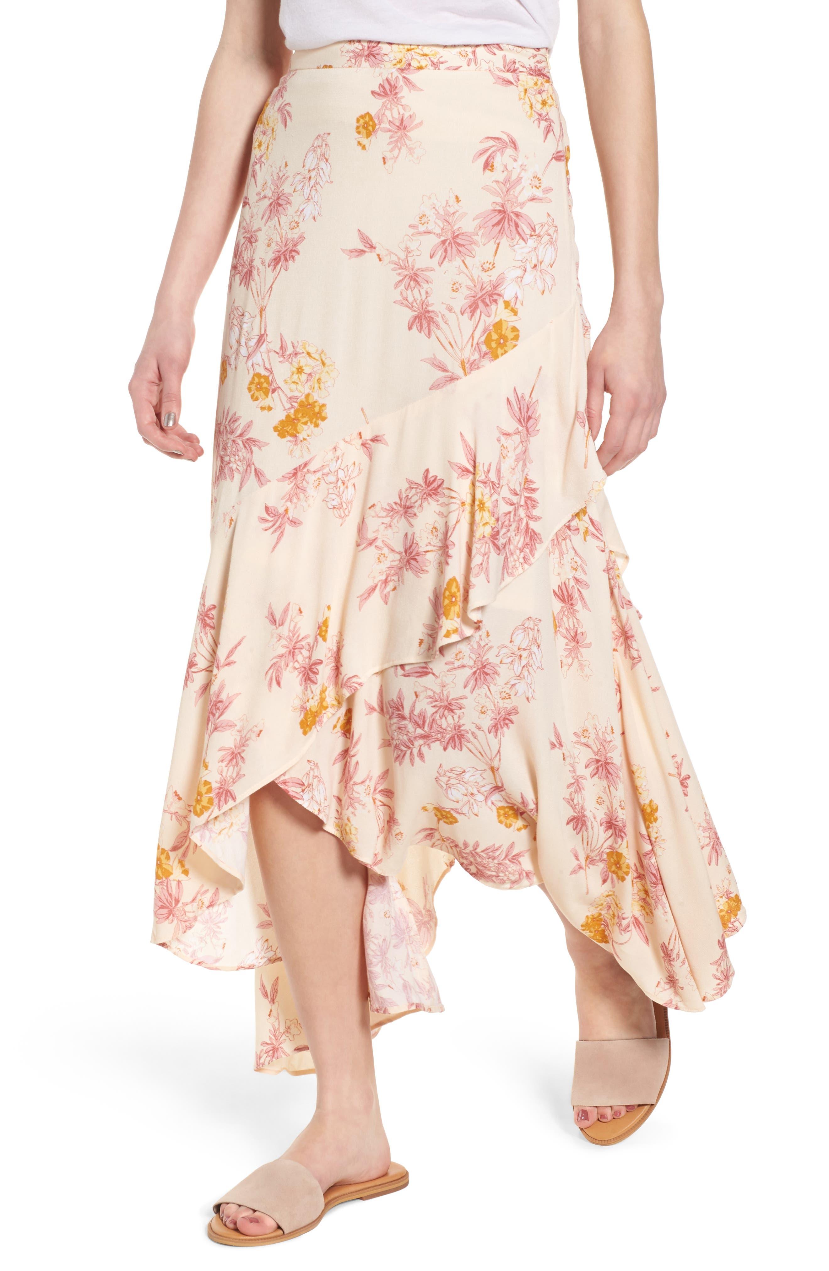 BP. Print High/Low Midi Skirt