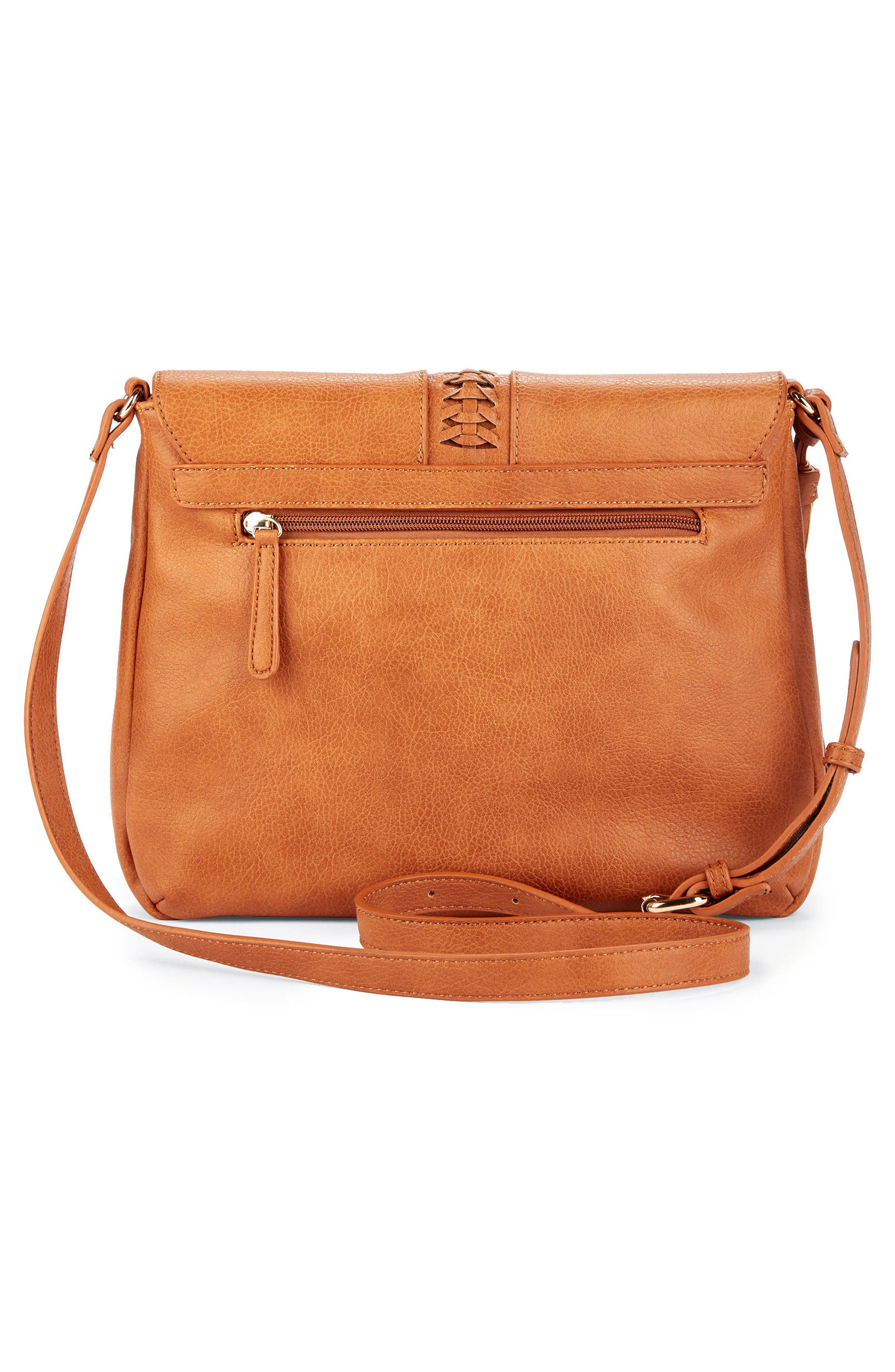 Tara Stitch Detail Faux Leather Crossbody Bag,                             Alternate thumbnail 2, color,                             Cognac