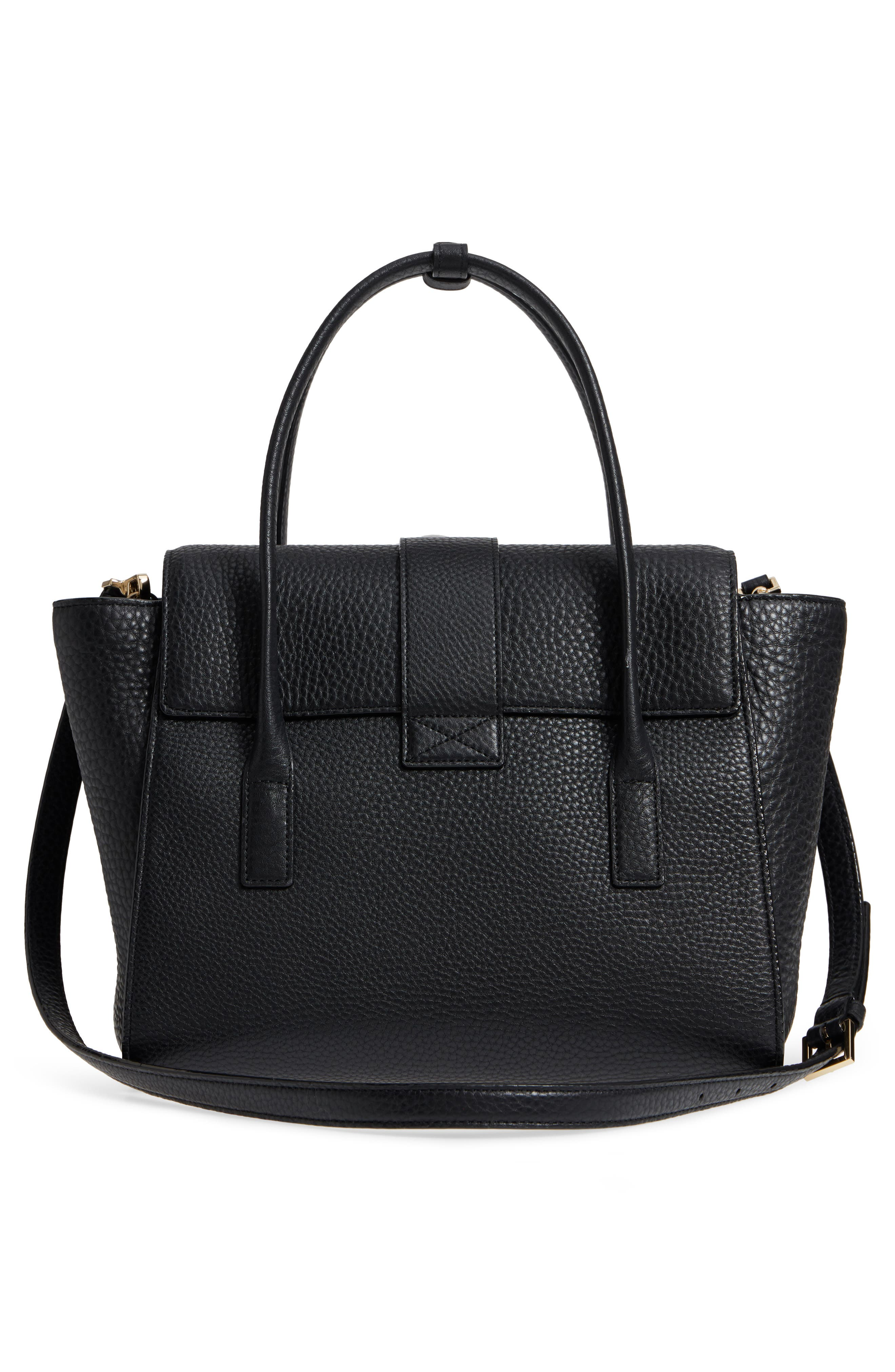 carlyle street - alexa leather satchel,                             Alternate thumbnail 3, color,                             Black