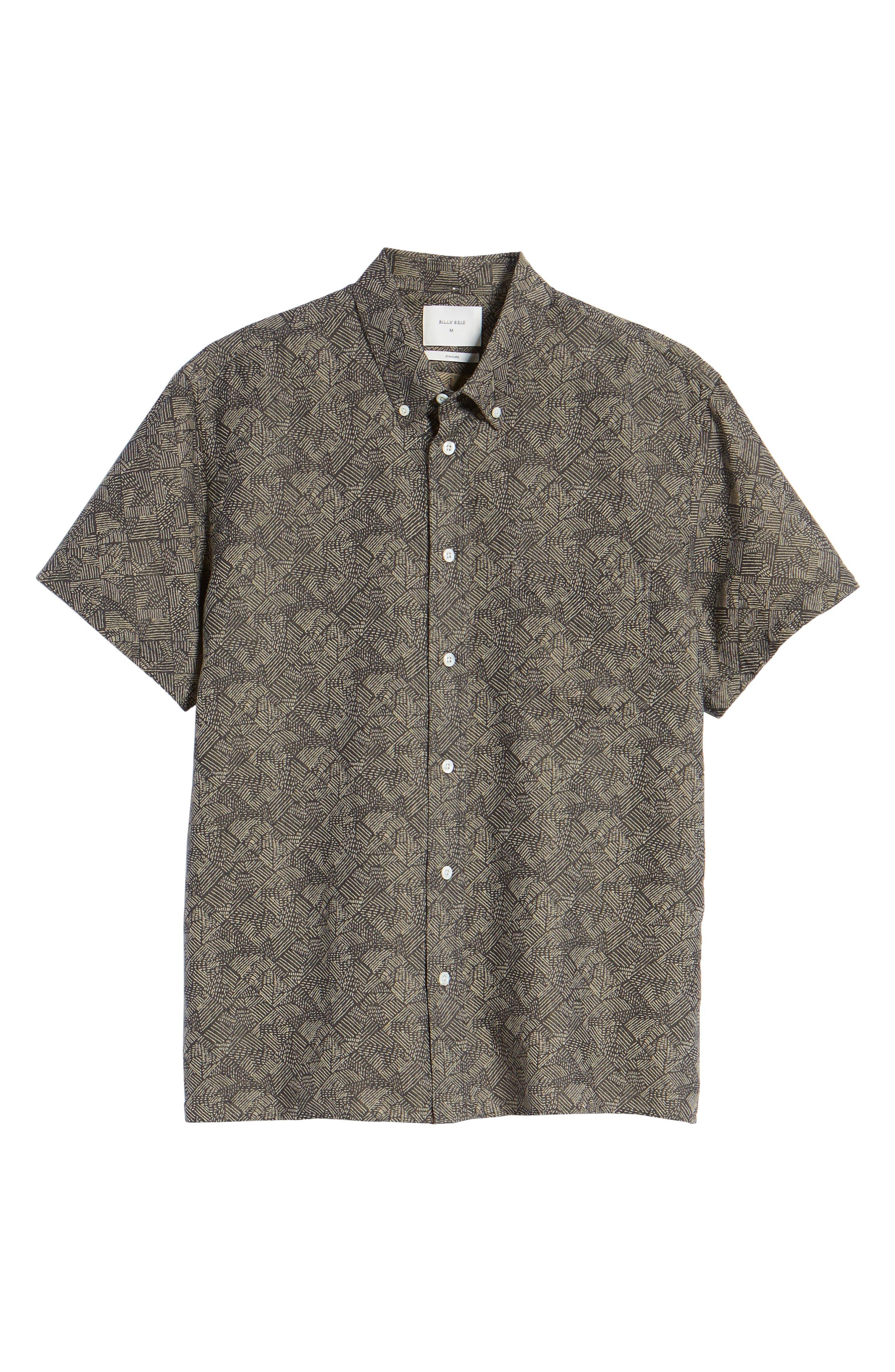 Leo Standard Fit Short Sleeve Sport Shirt,                             Alternate thumbnail 6, color,                             Slate Field Line