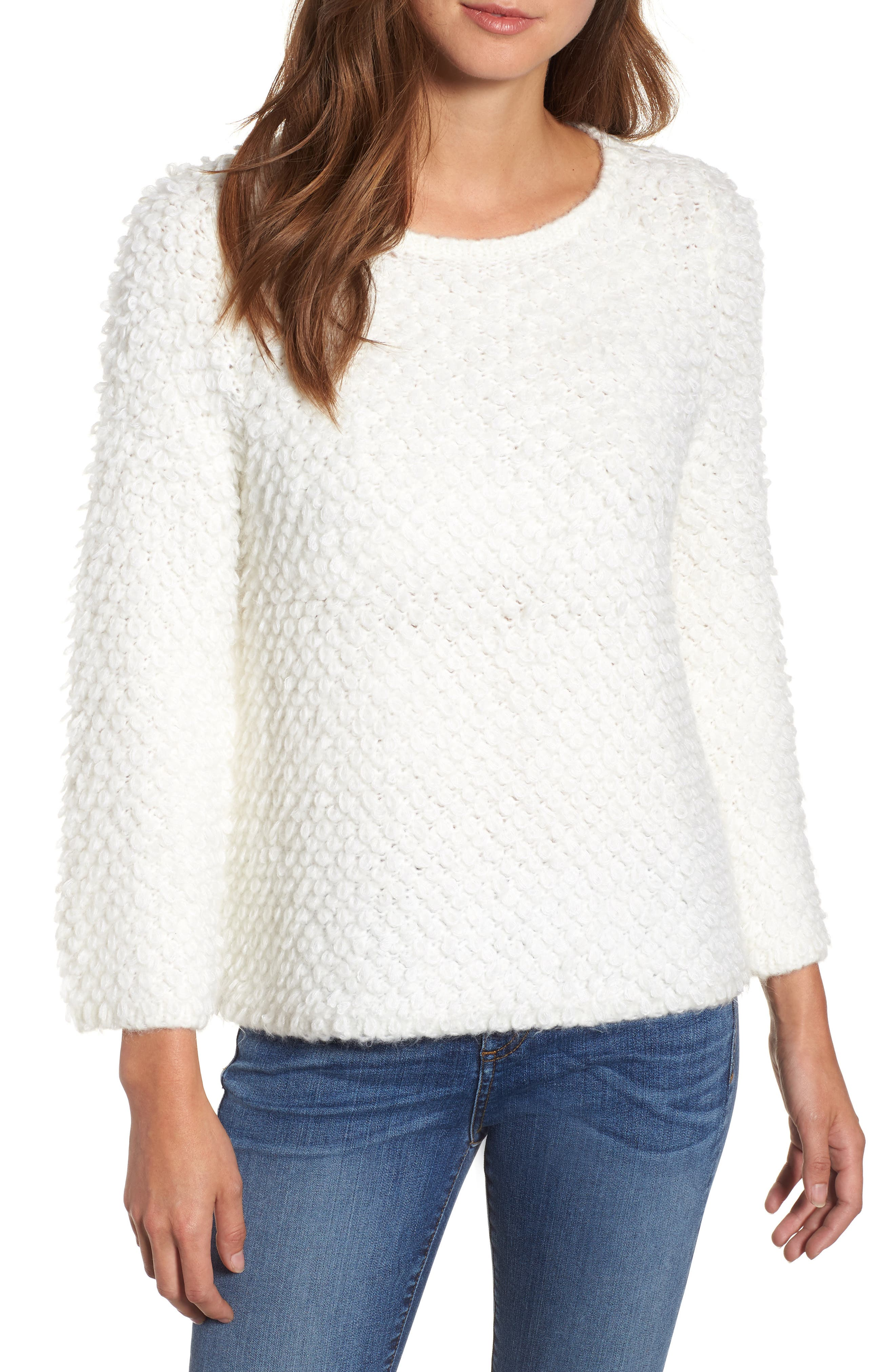 Loop Stitch Crewneck Sweater,                             Main thumbnail 1, color,                             Ivory Cloud