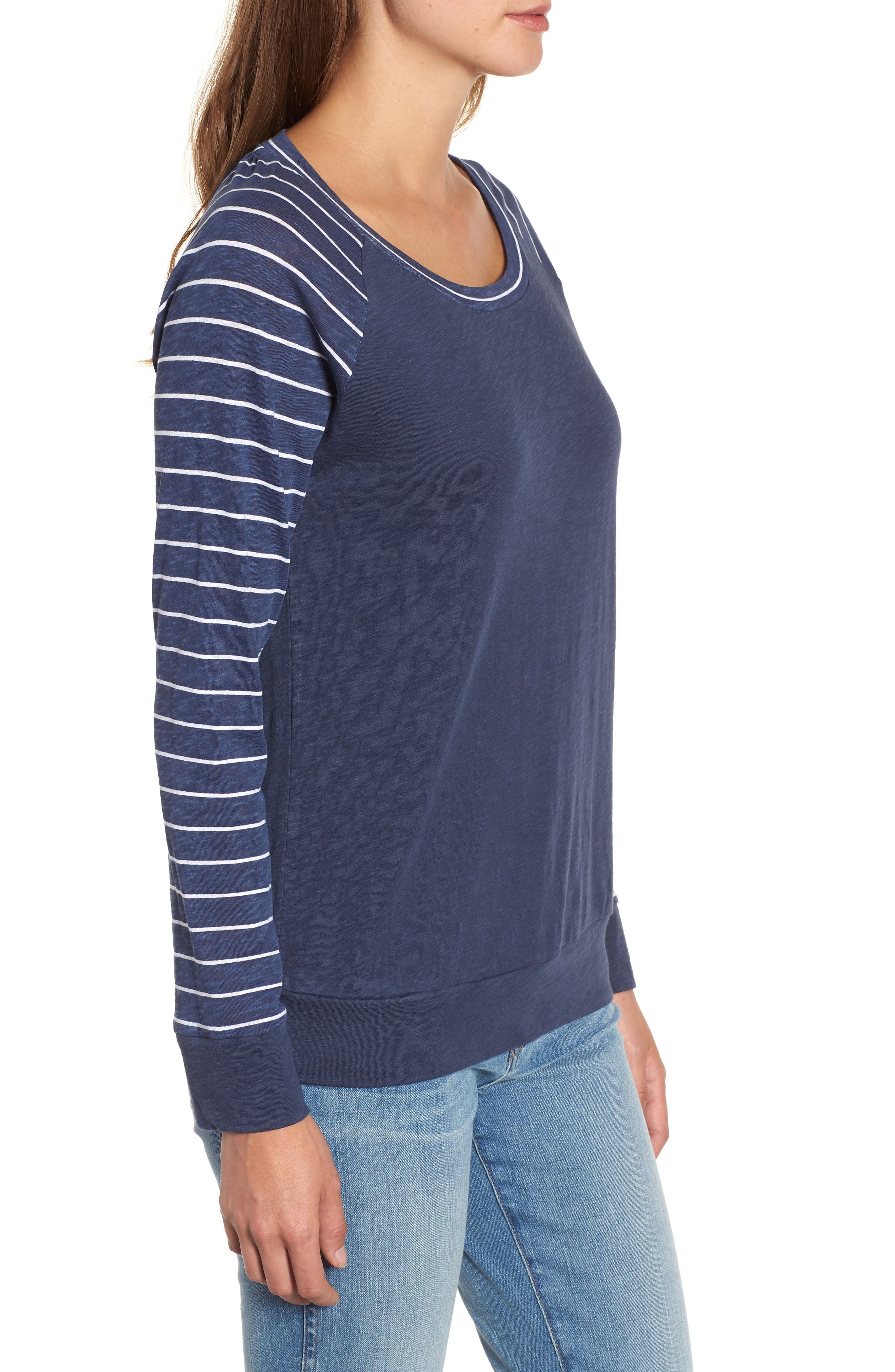 Lightweight Colorblock Cotton Tee,                             Alternate thumbnail 16, color,                             Navy- White