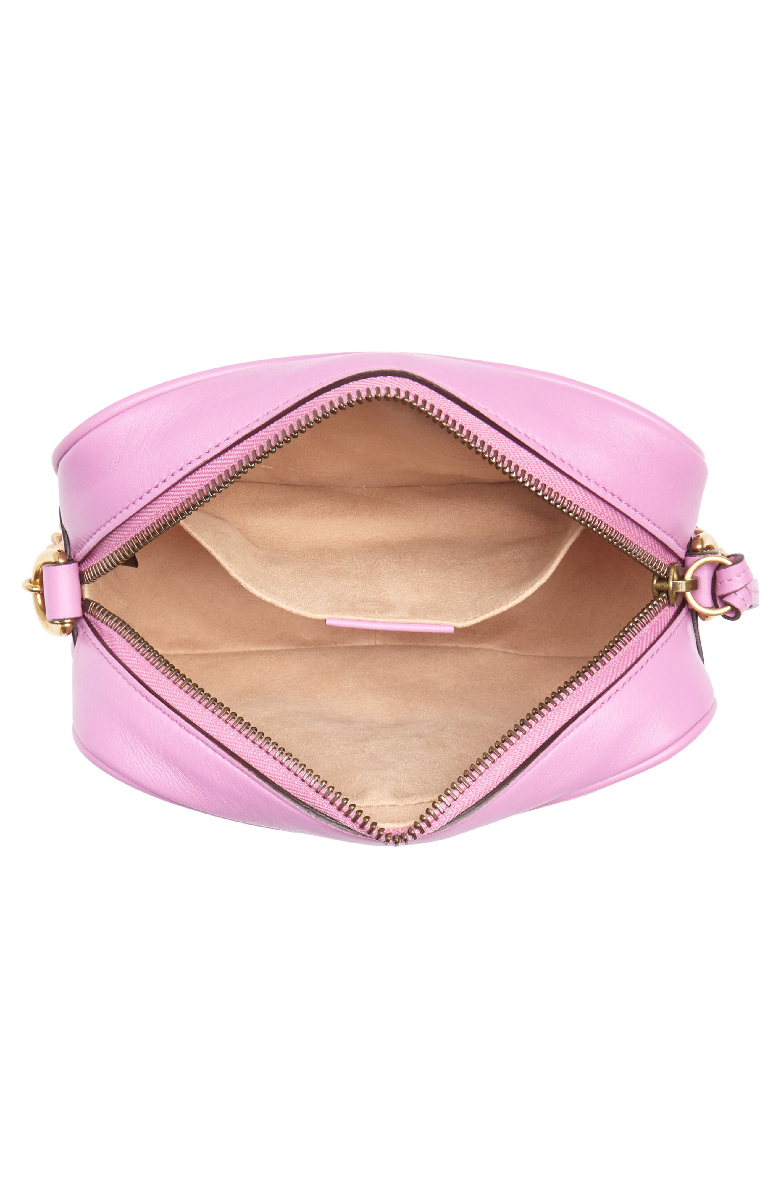 GG Marmont 2.0 Matelassé Leather Camera Bag,                             Alternate thumbnail 4, color,                             Candy Mous