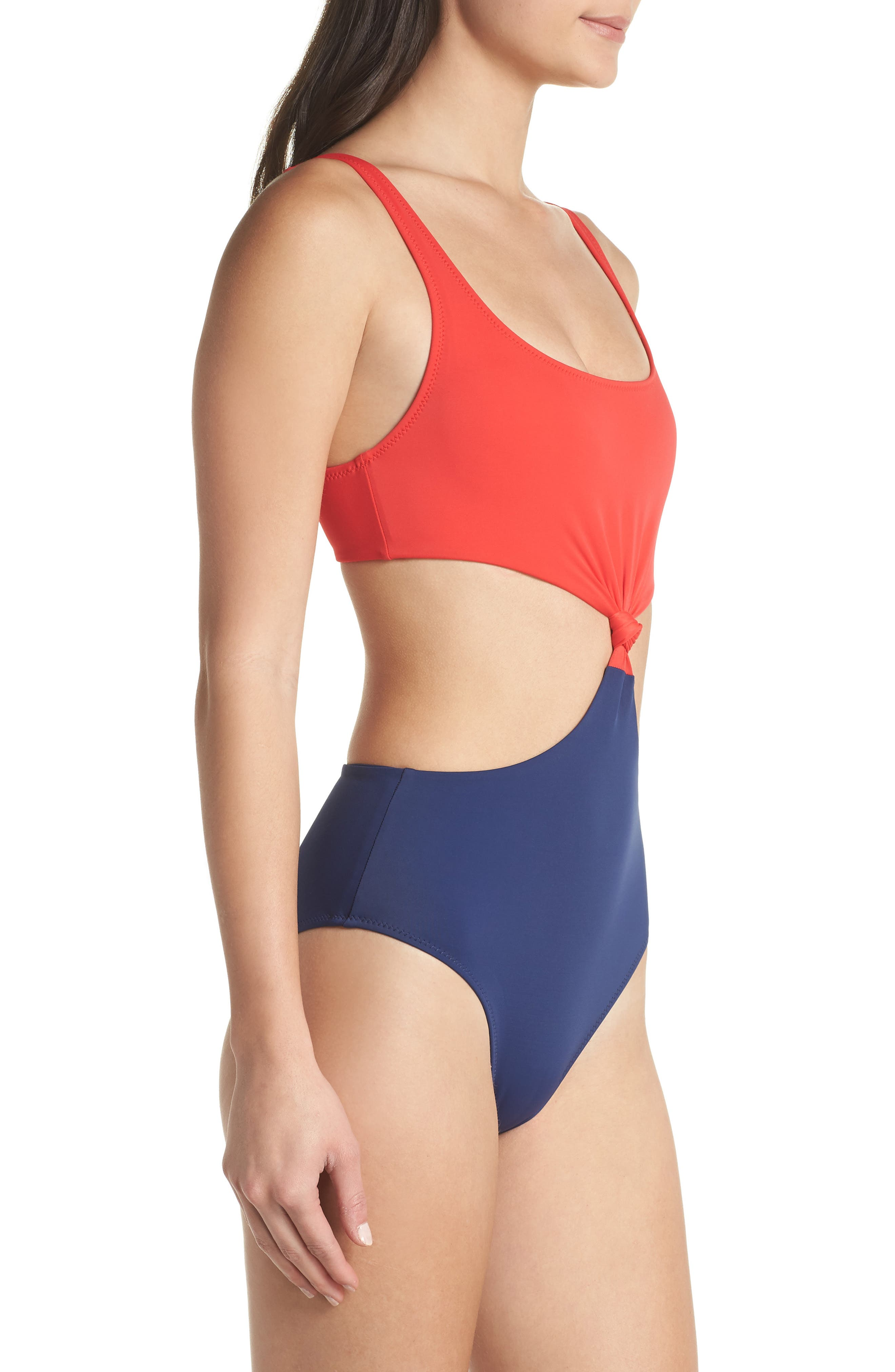 The Bailey One-Piece Swimsuit,                             Alternate thumbnail 3, color,                             Red Navy