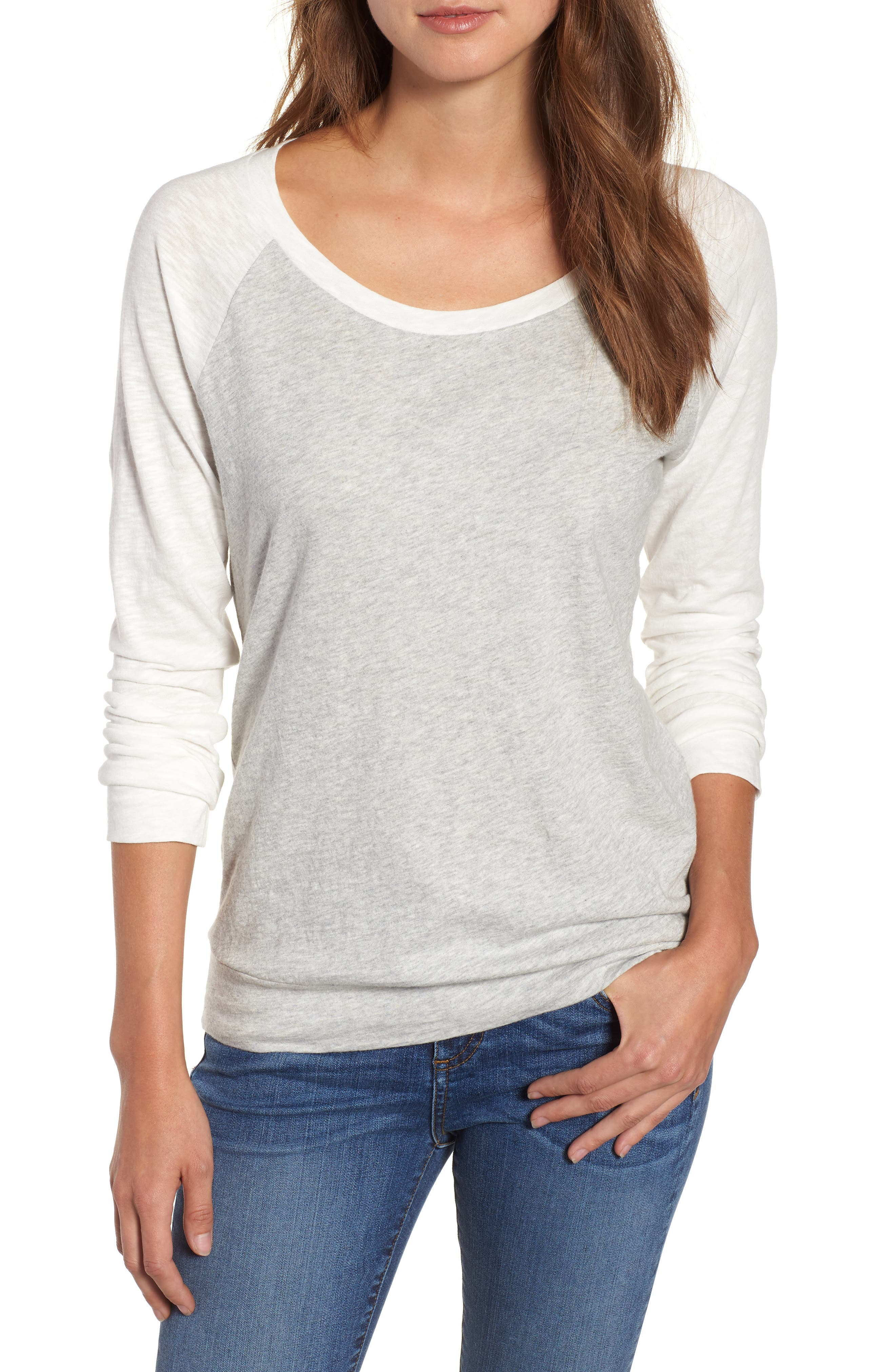Lightweight Colorblock Cotton Tee,                             Main thumbnail 1, color,                             Grey- Ivory