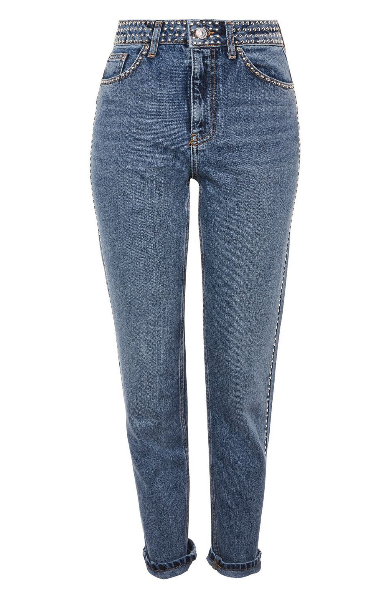 Mid Denim Studded Mom Jeans,                             Alternate thumbnail 4, color,                             Mid Denim
