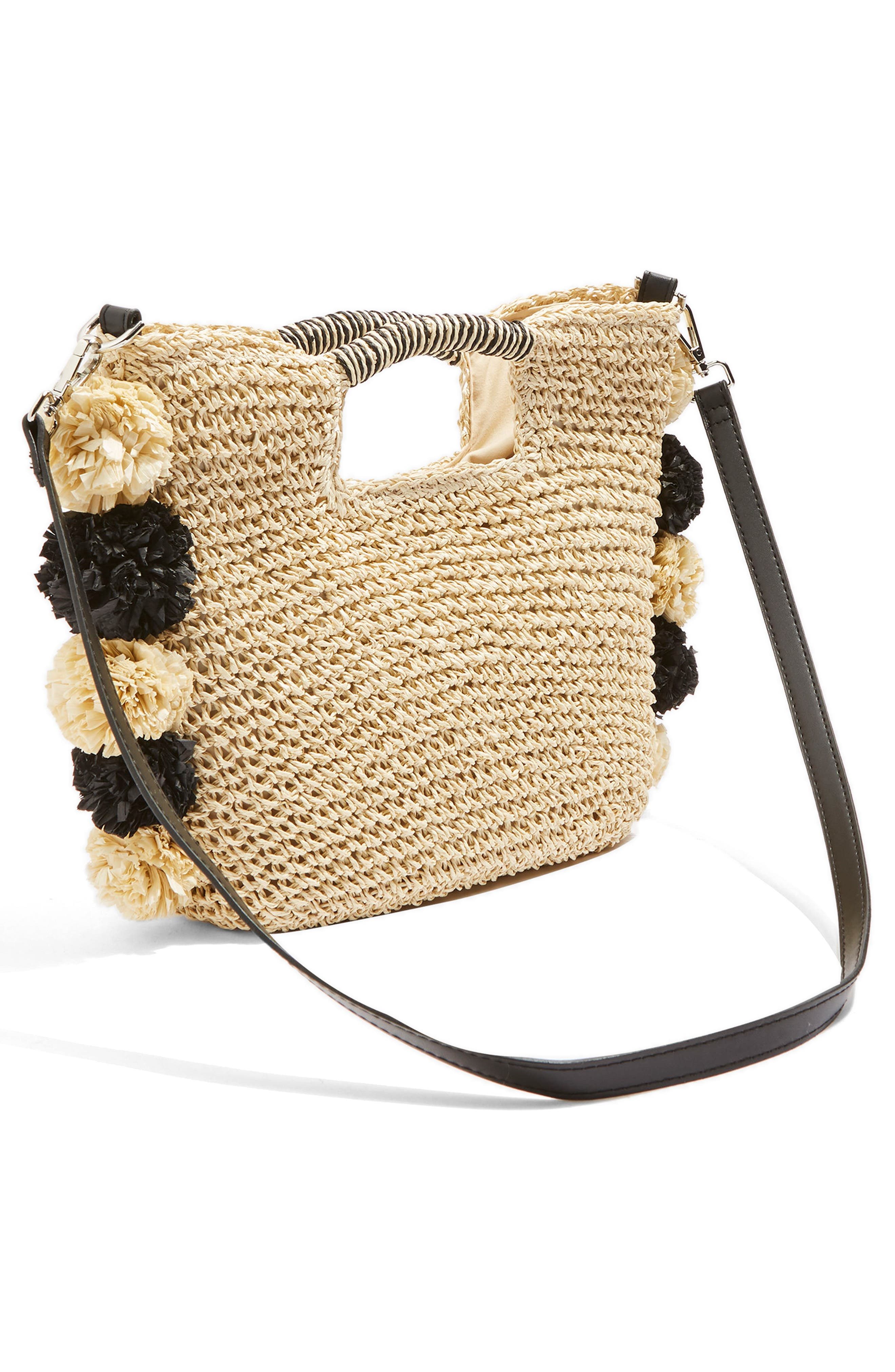 Bali Pom Straw Tote Bag,                             Alternate thumbnail 3, color,                             Nude