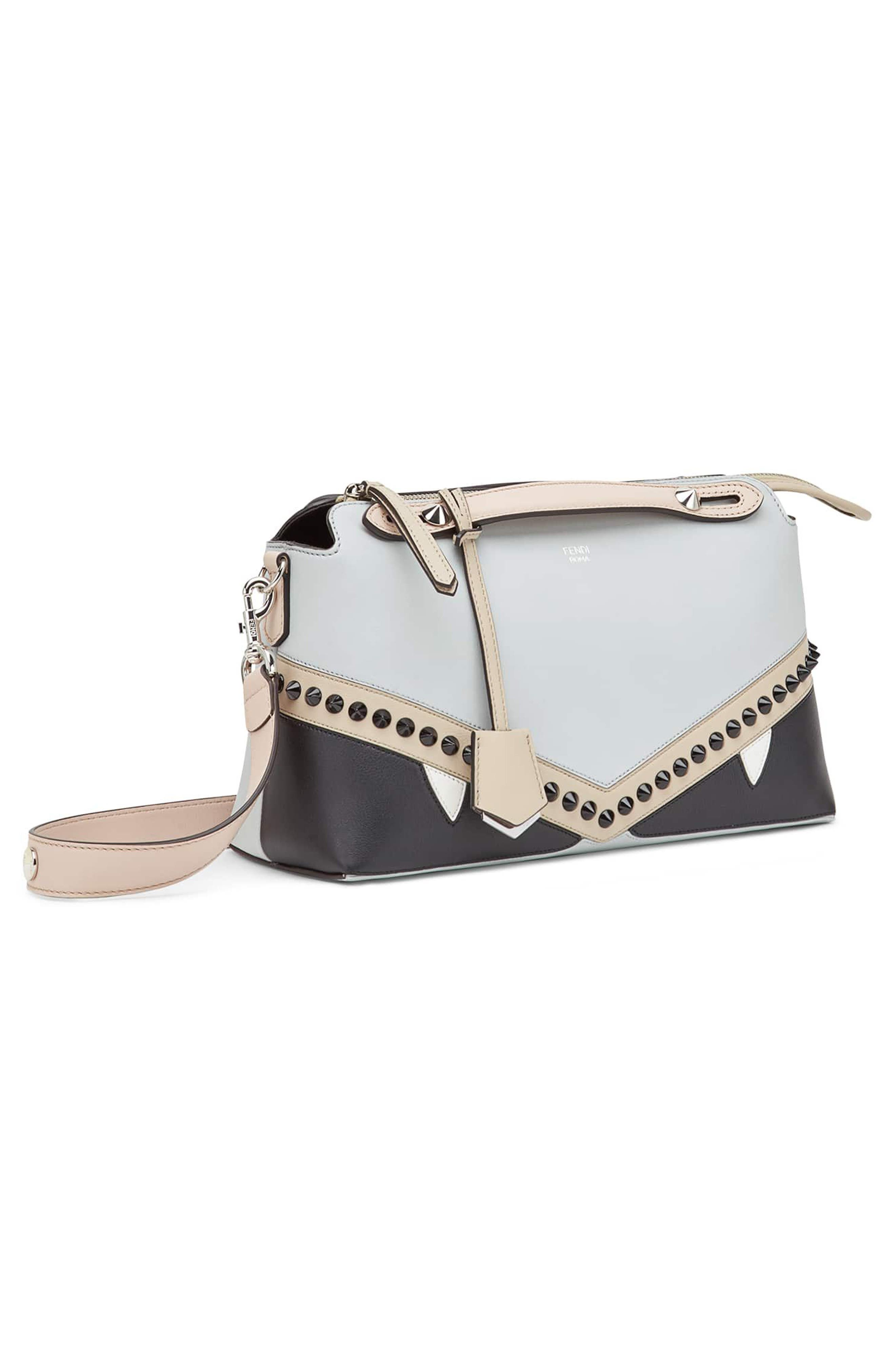By the Way - Monster Eyes Leather Shoulder Bag,                             Alternate thumbnail 4, color,                             Grigio Perla/ Nuvola Multi