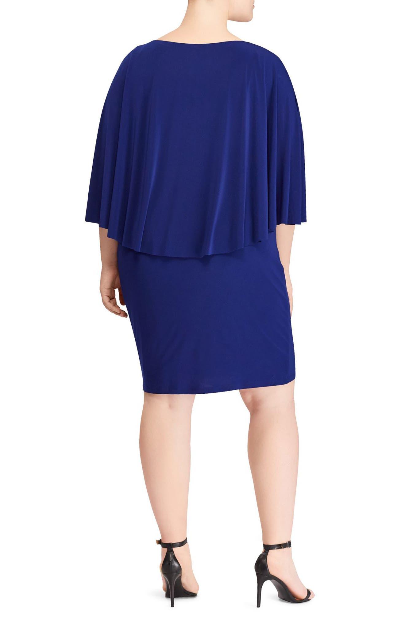 Abriella Cape Sheath Dress,                             Alternate thumbnail 2, color,                             Rich Sapphire