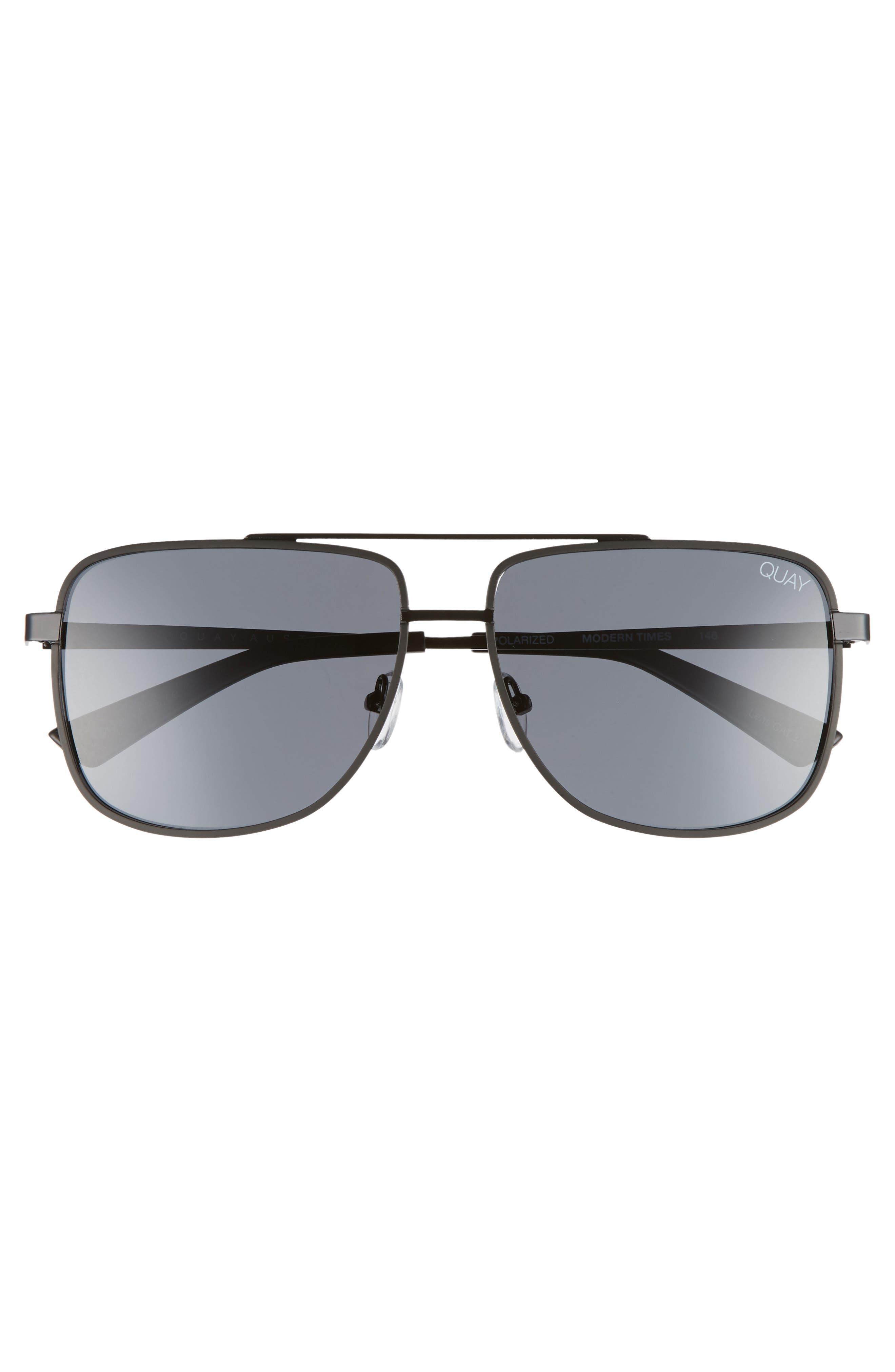 Modern Times 57mm Polarized Aviator Sunglasses,                             Alternate thumbnail 2, color,                             Black / Smoke Lens
