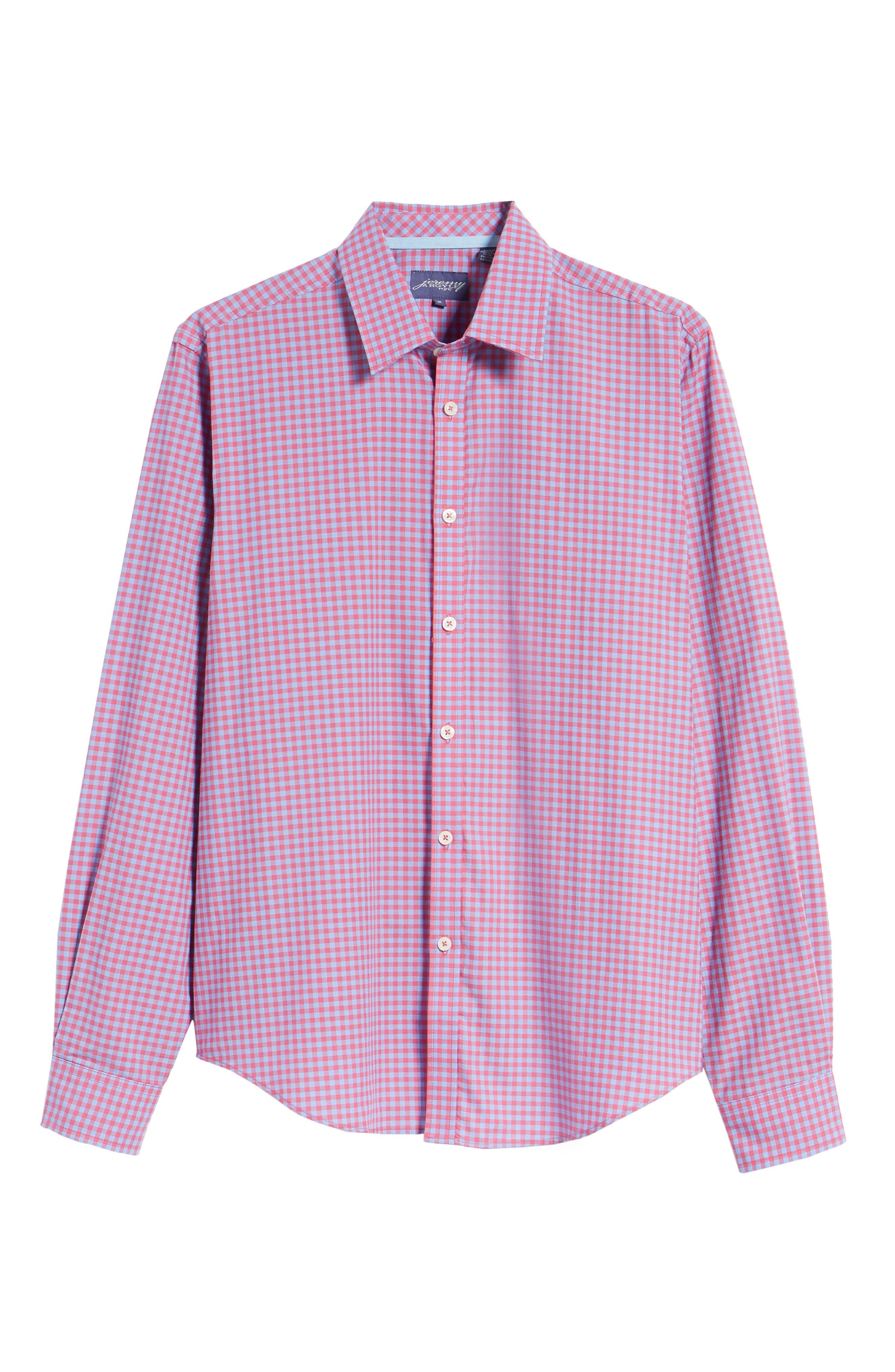 Slim Fit Gingham Sport Shirt,                             Alternate thumbnail 6, color,                             Light Red
