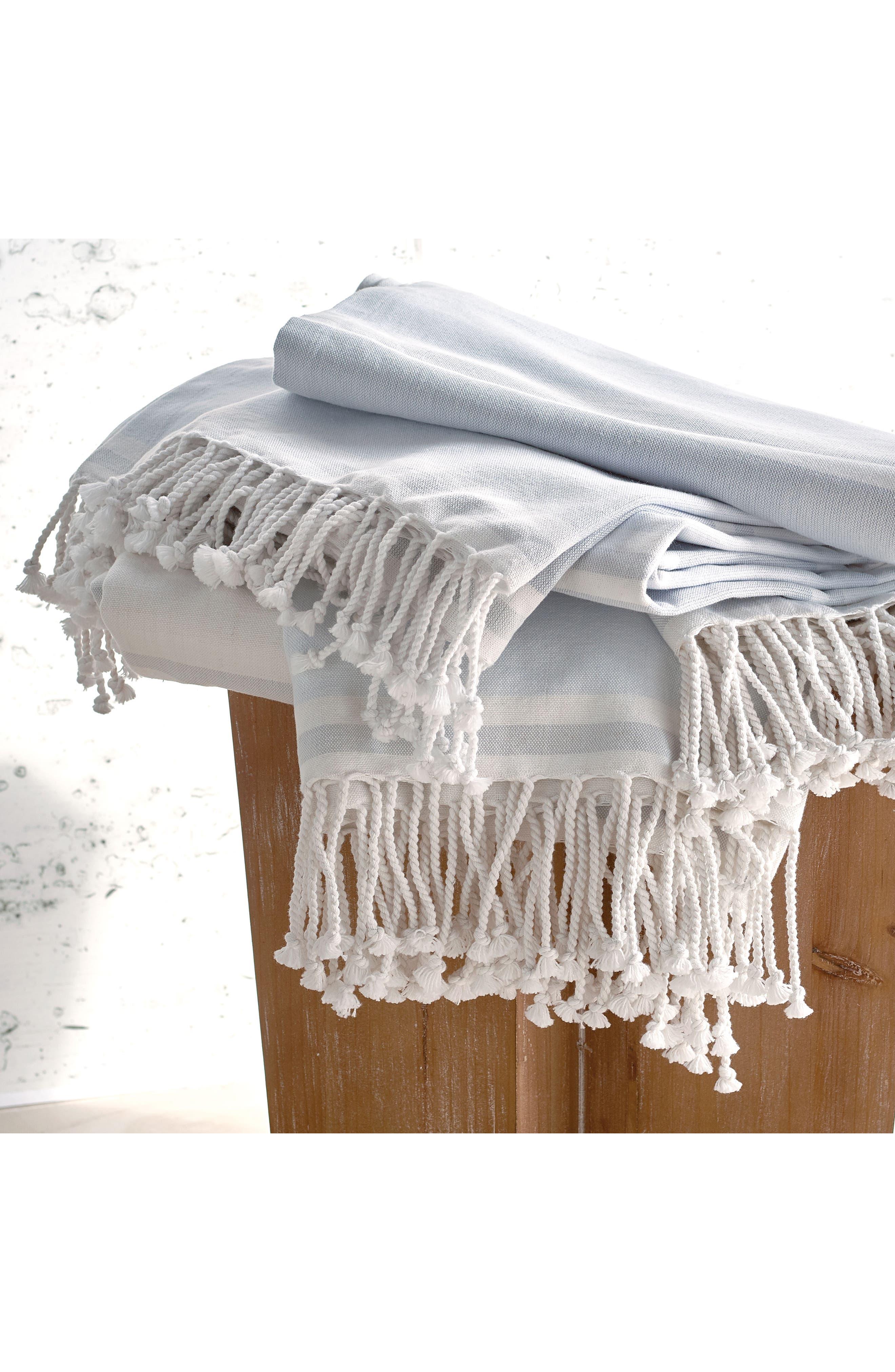 Donna Karan New York Pure Stripe Blanket,                             Alternate thumbnail 3, color,                             Blue