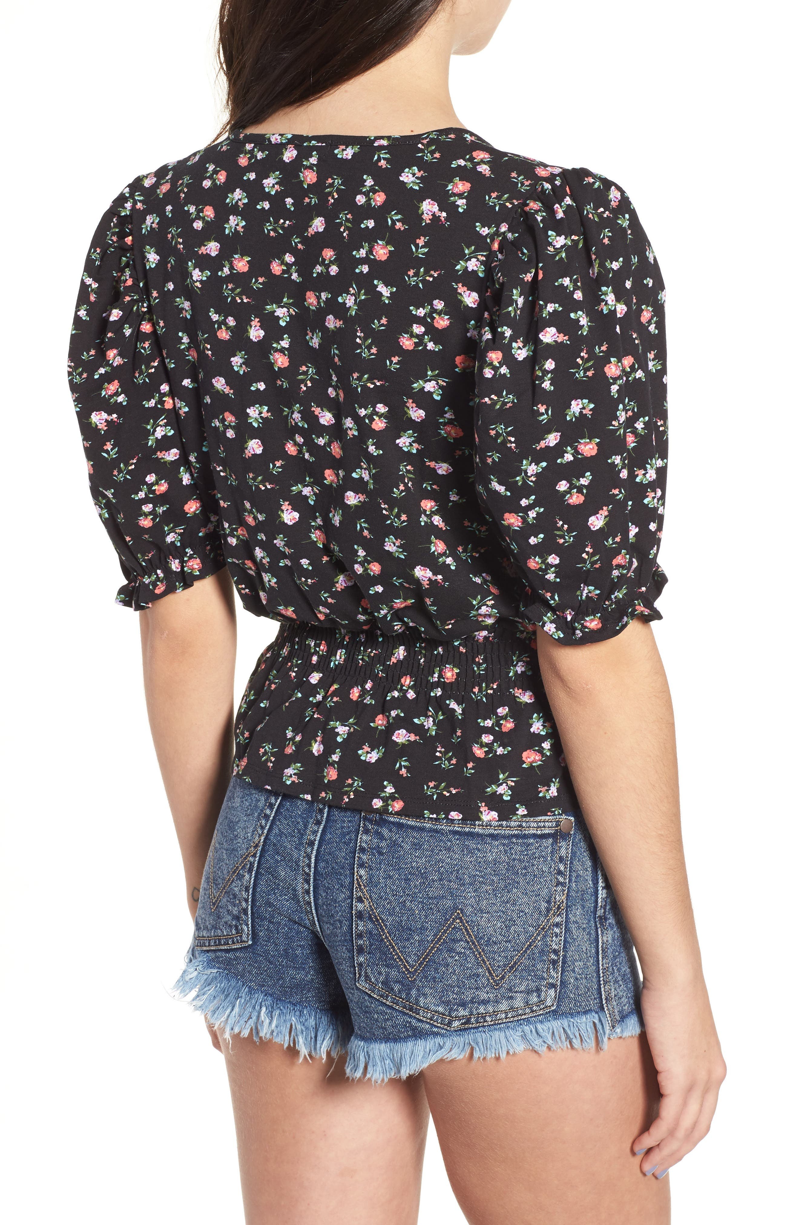 Floral Print Smock Waist Top,                             Alternate thumbnail 2, color,                             Blackground Floral