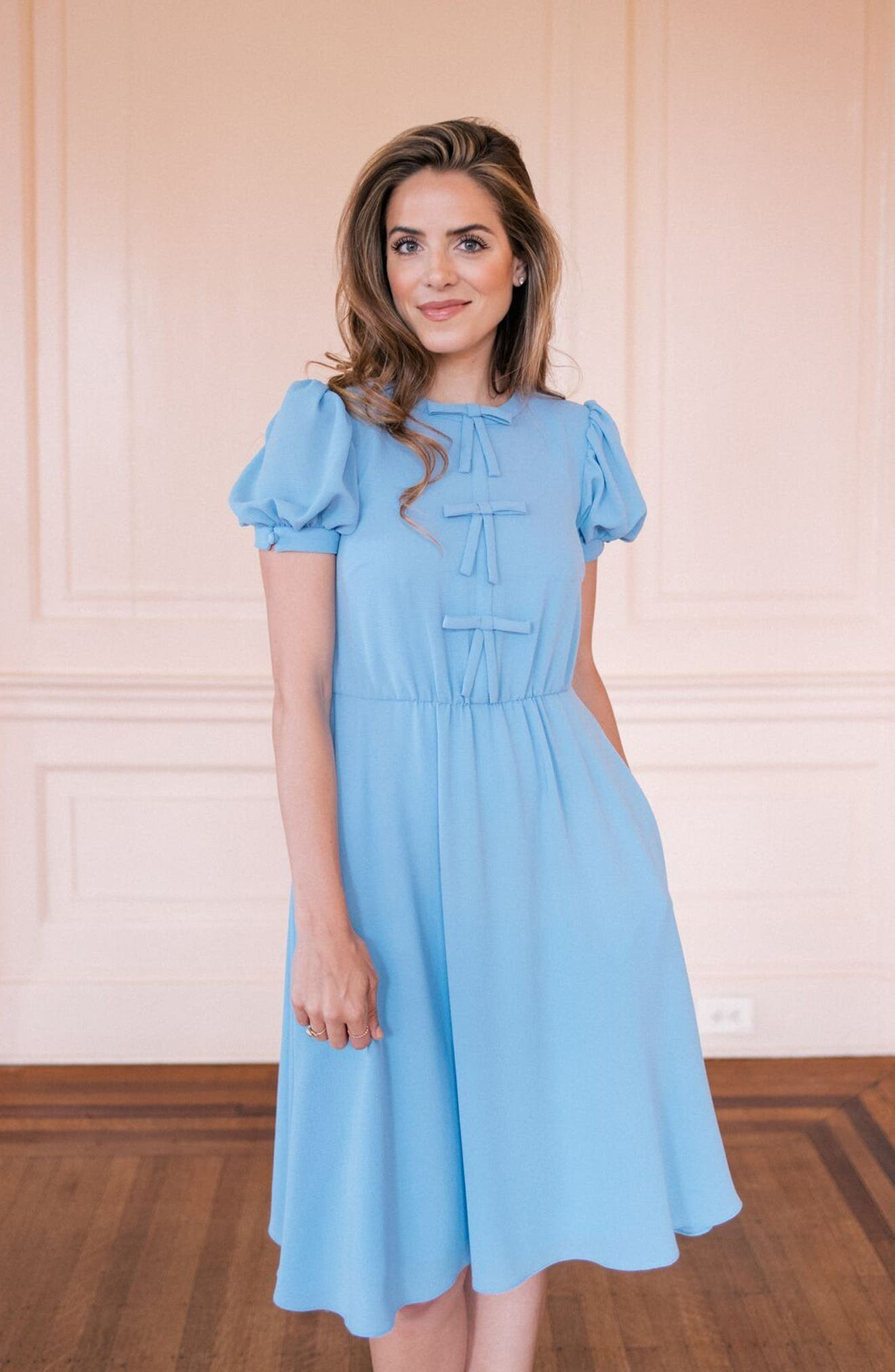 Ellie Crepe Puff Sleeve Dress,                             Alternate thumbnail 2, color,                             Sky Blue