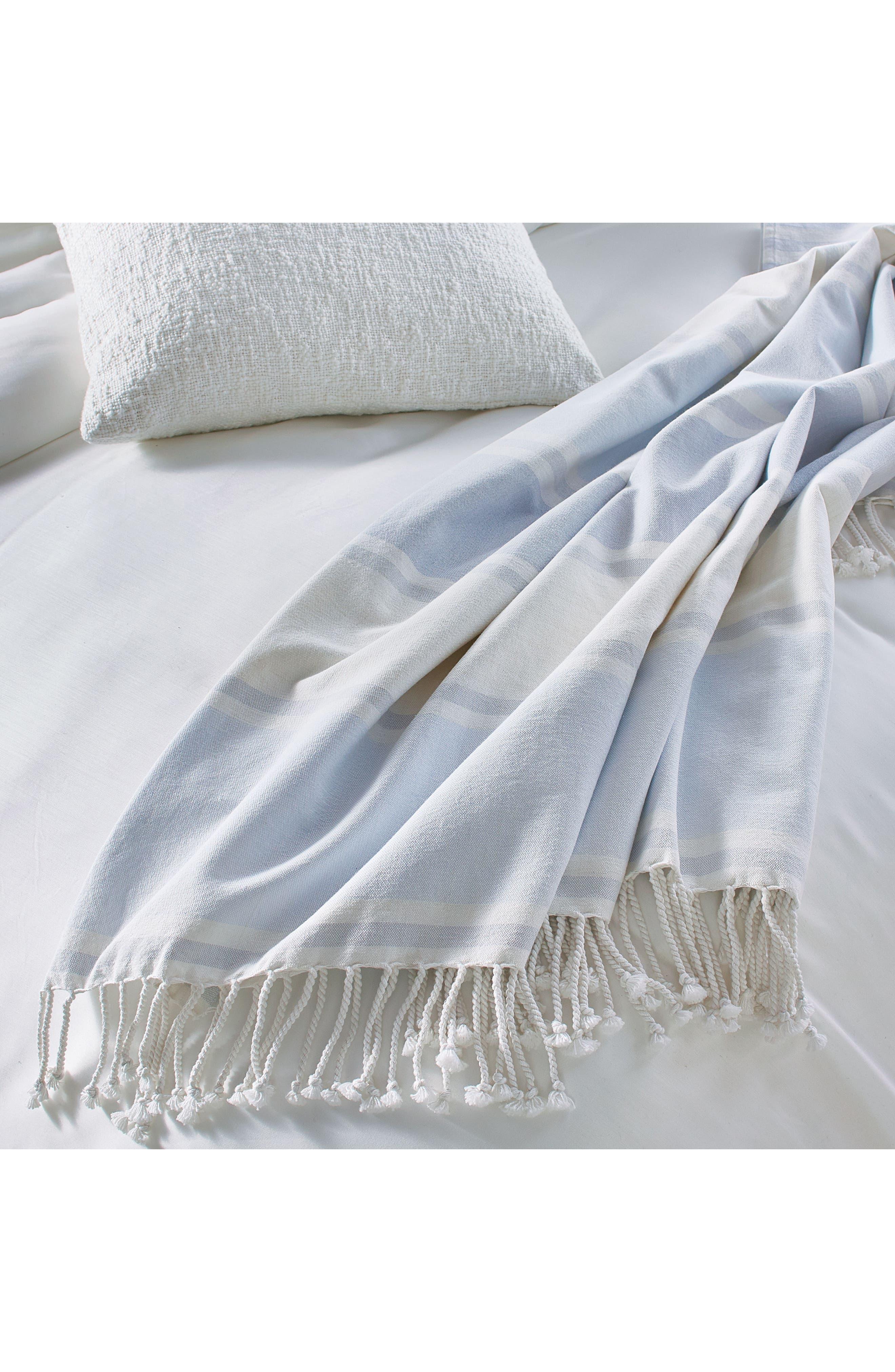 Donna Karan New York Pure Stripe Blanket,                             Alternate thumbnail 4, color,                             Blue