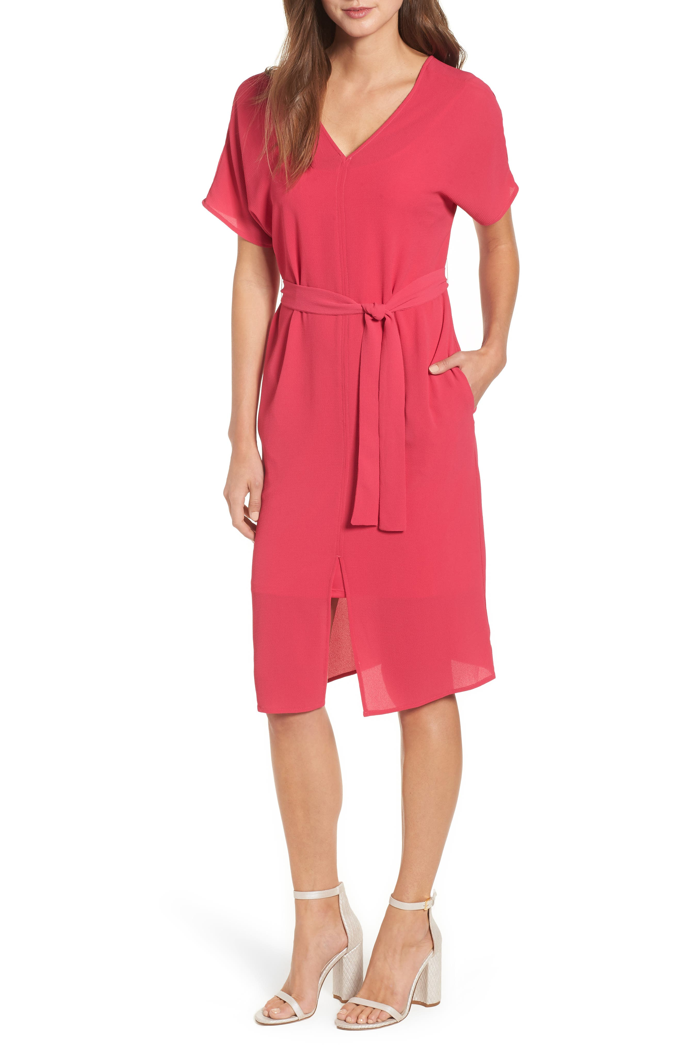 Stretch Crepe Dress,                             Main thumbnail 1, color,                             Bright Rose