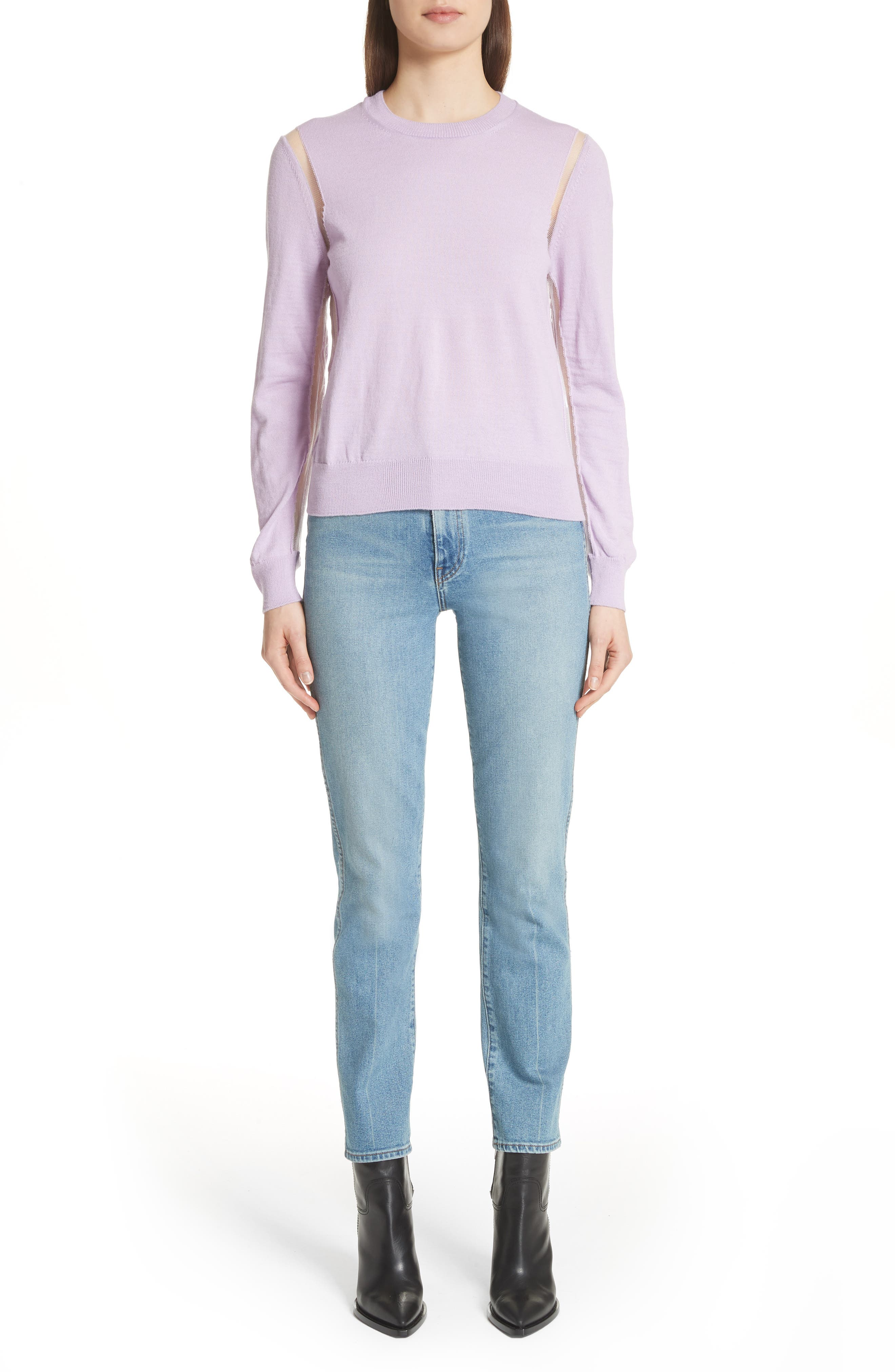 Sheer Panel Crewneck Sweater,                             Alternate thumbnail 8, color,                             Purple