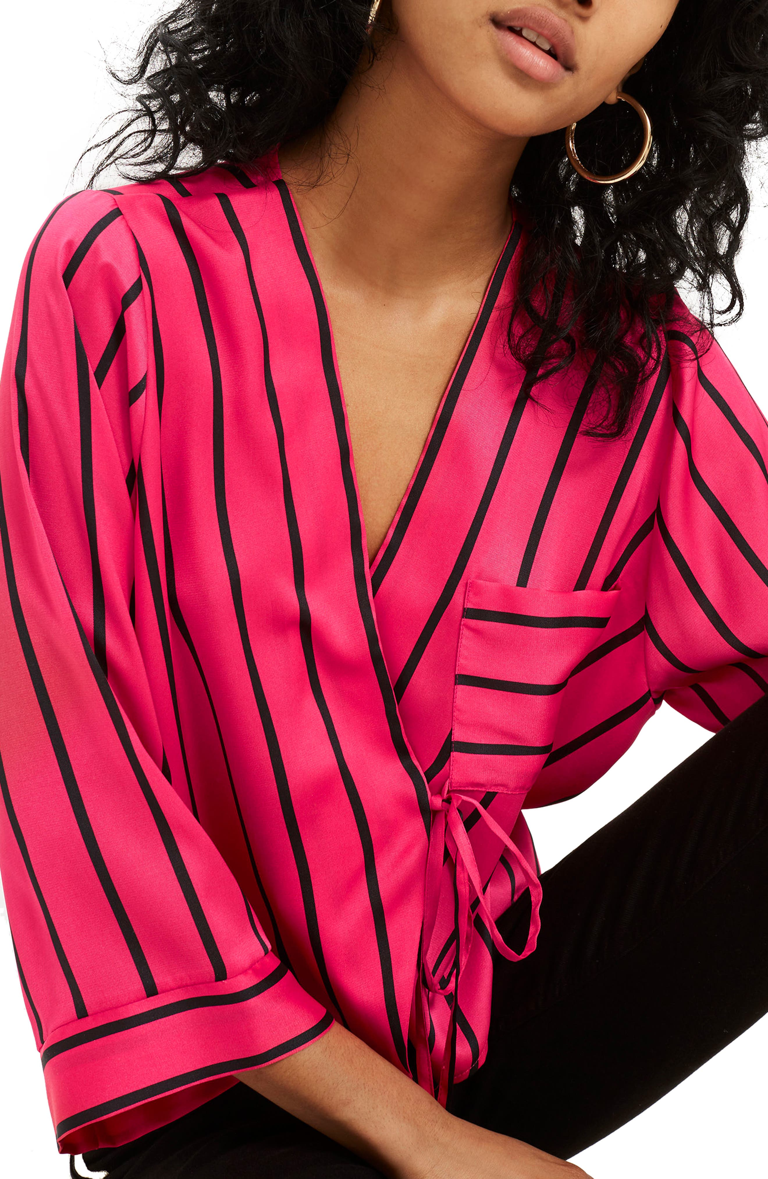 Stripe Tie Wrap Kimono Top,                             Alternate thumbnail 3, color,                             Pink Multi