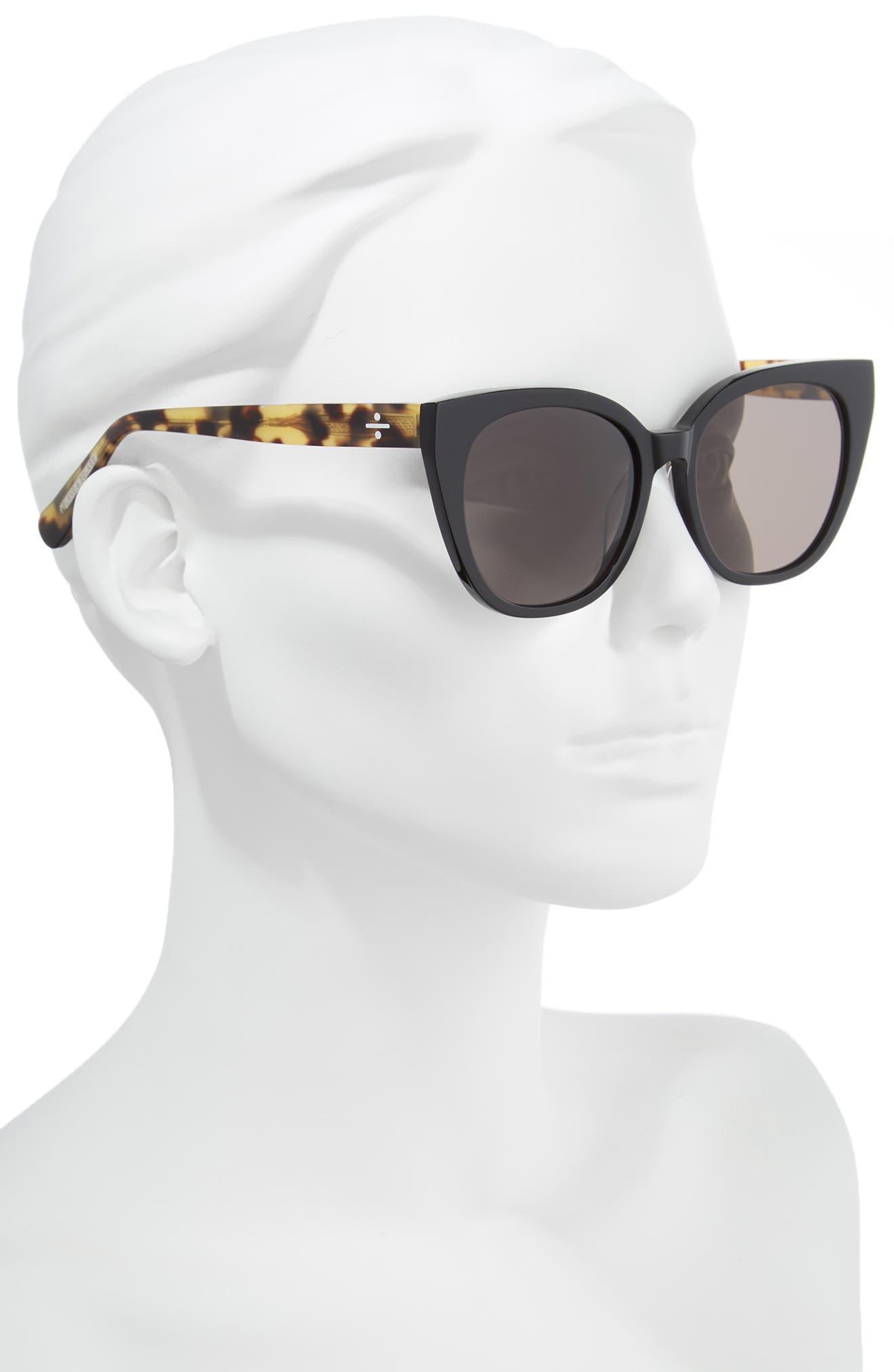 BLANC & ECLARE Monaco 54mm Cat Eye Sunglasses,                             Alternate thumbnail 2, color,                             Black/ Lemon Tortoise/ Grey