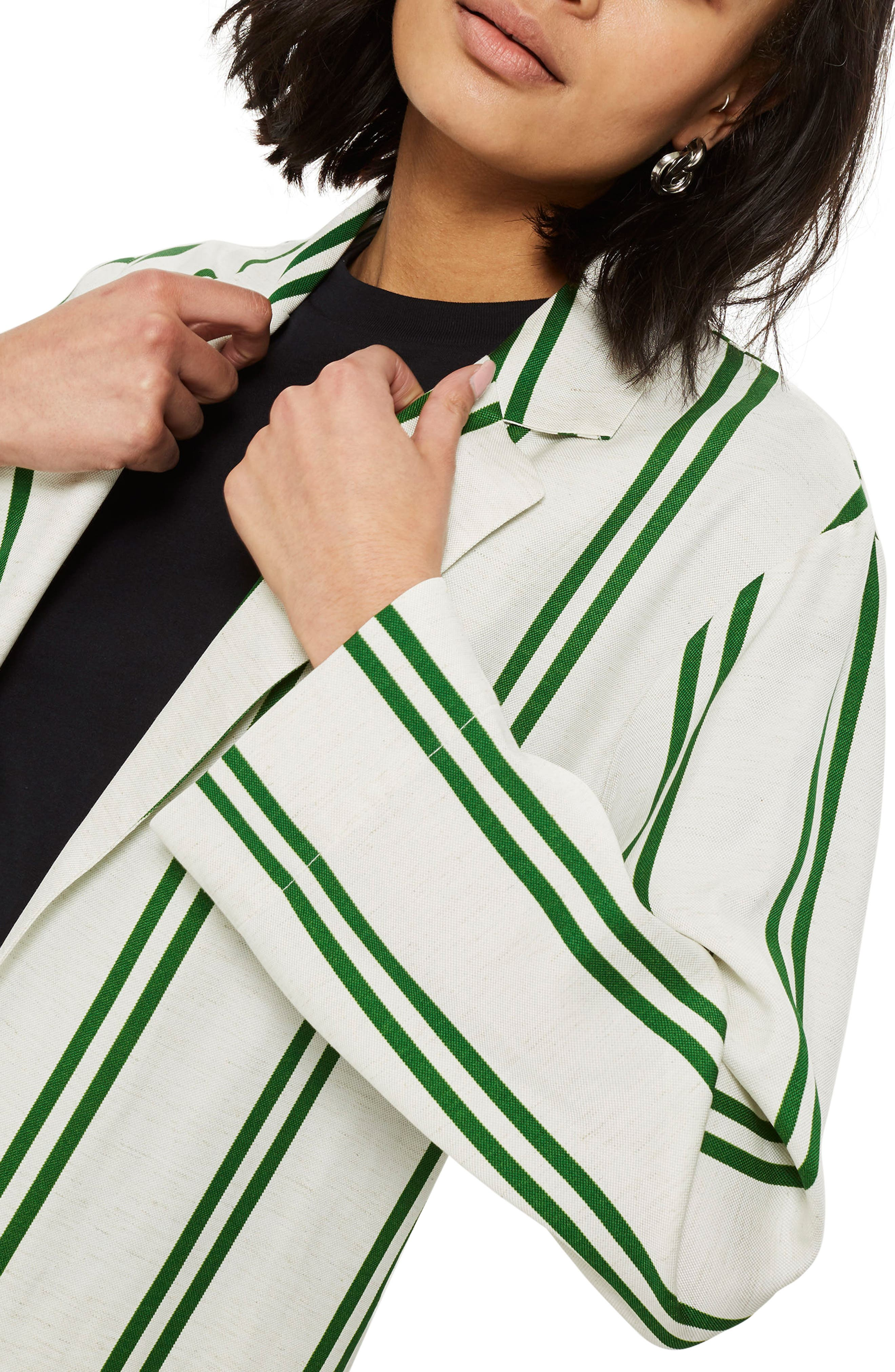 Slub Stripe Duster Coat,                             Alternate thumbnail 4, color,                             Green Multi