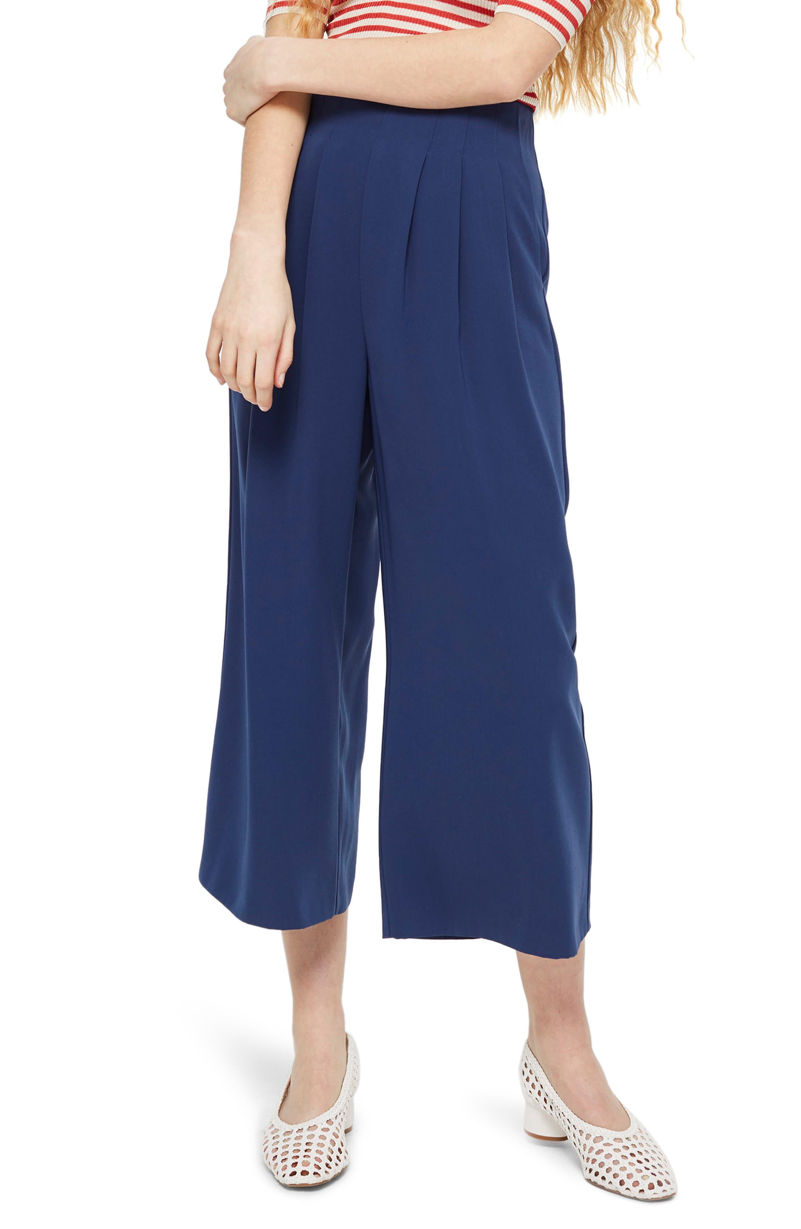 Ivy Crop Wide Leg Trousers,                         Main,                         color, Navy Blue