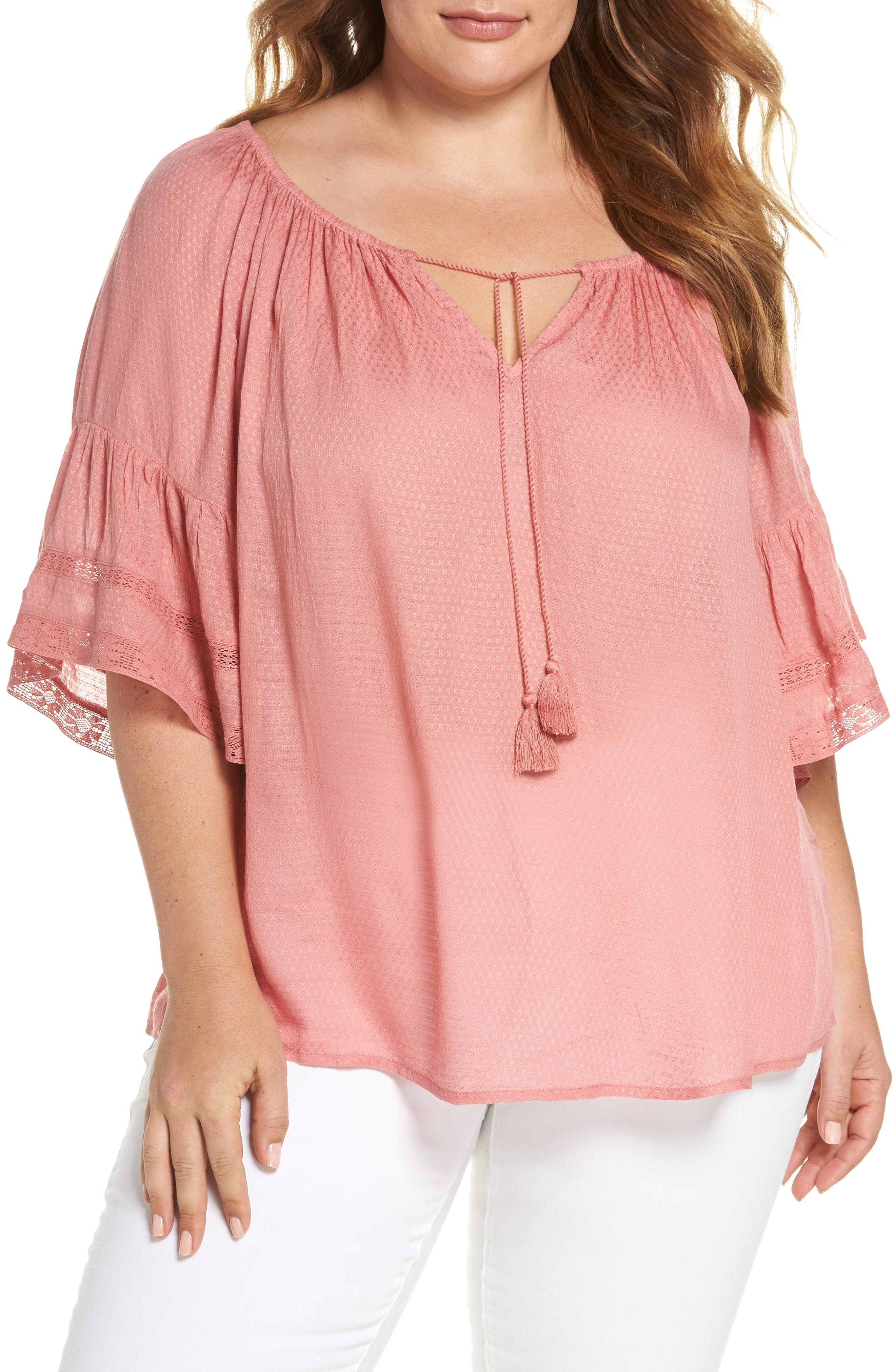 Bell Sleeve Peasant Top,                         Main,                         color, Rose