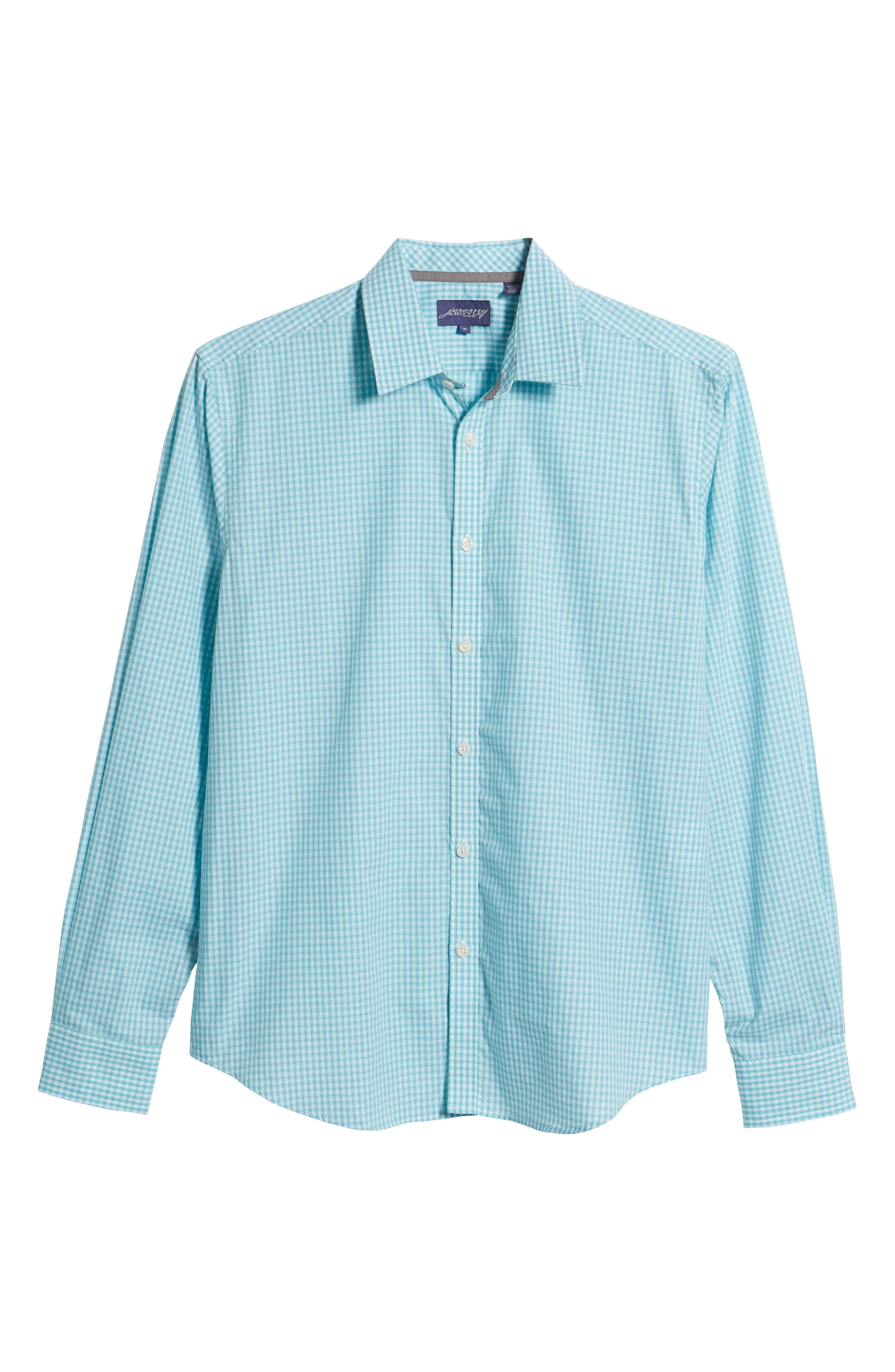 Comfort Fit Check Sport Shirt,                             Alternate thumbnail 6, color,                             Turquoise