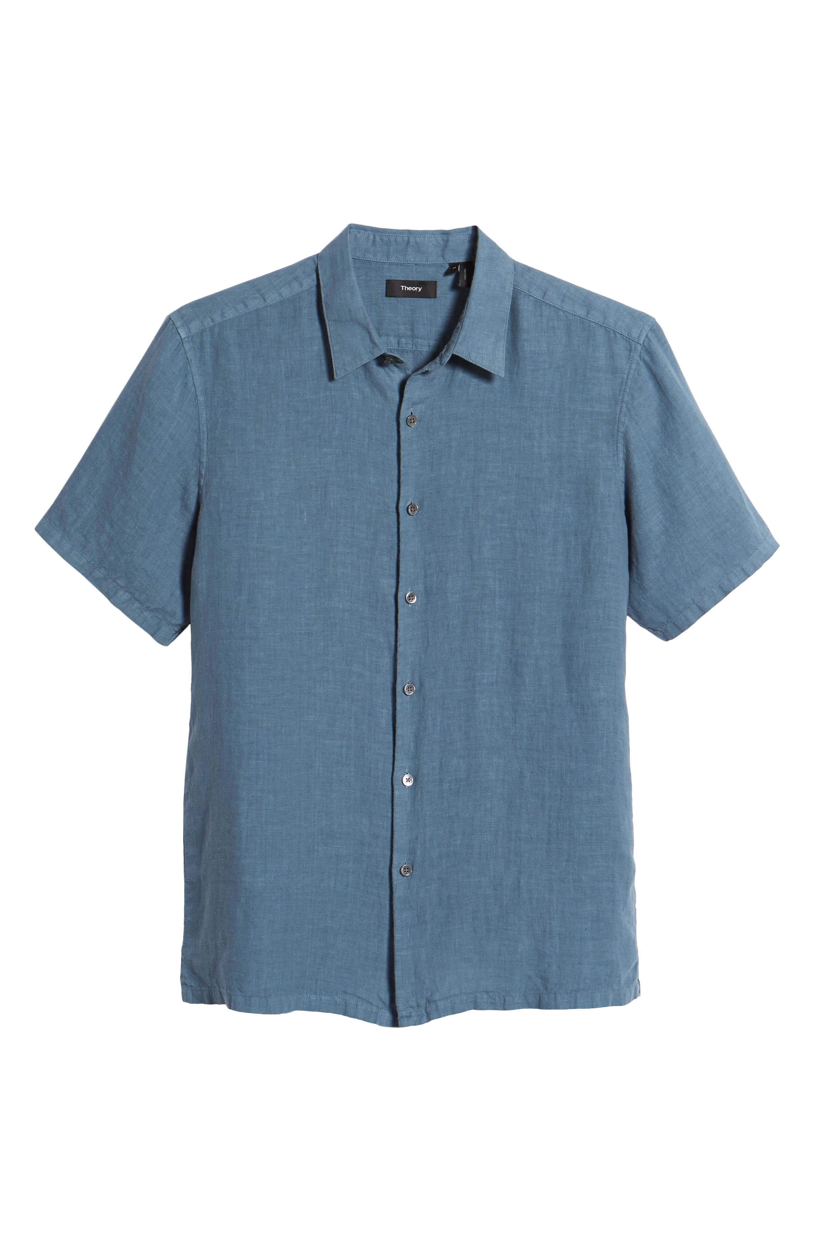 Irving Trim Fit Linen Short Sleeve Sport Shirt,                             Alternate thumbnail 6, color,                             Hydro
