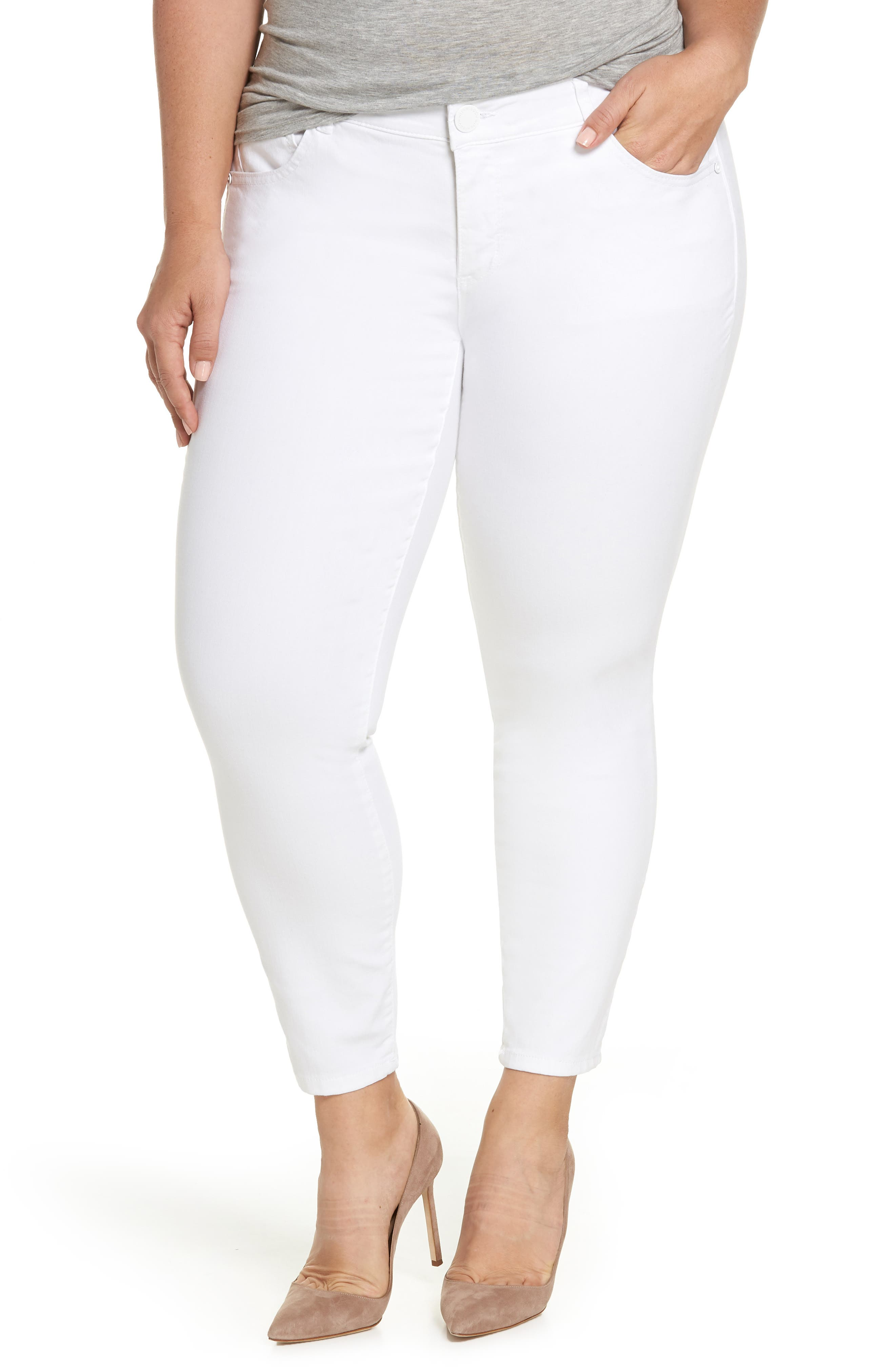Wit & Wisdom Ab-solution Ankle Skimmer Jeans (Optic White) (Plus Size) (Nordstrom Exclusive)