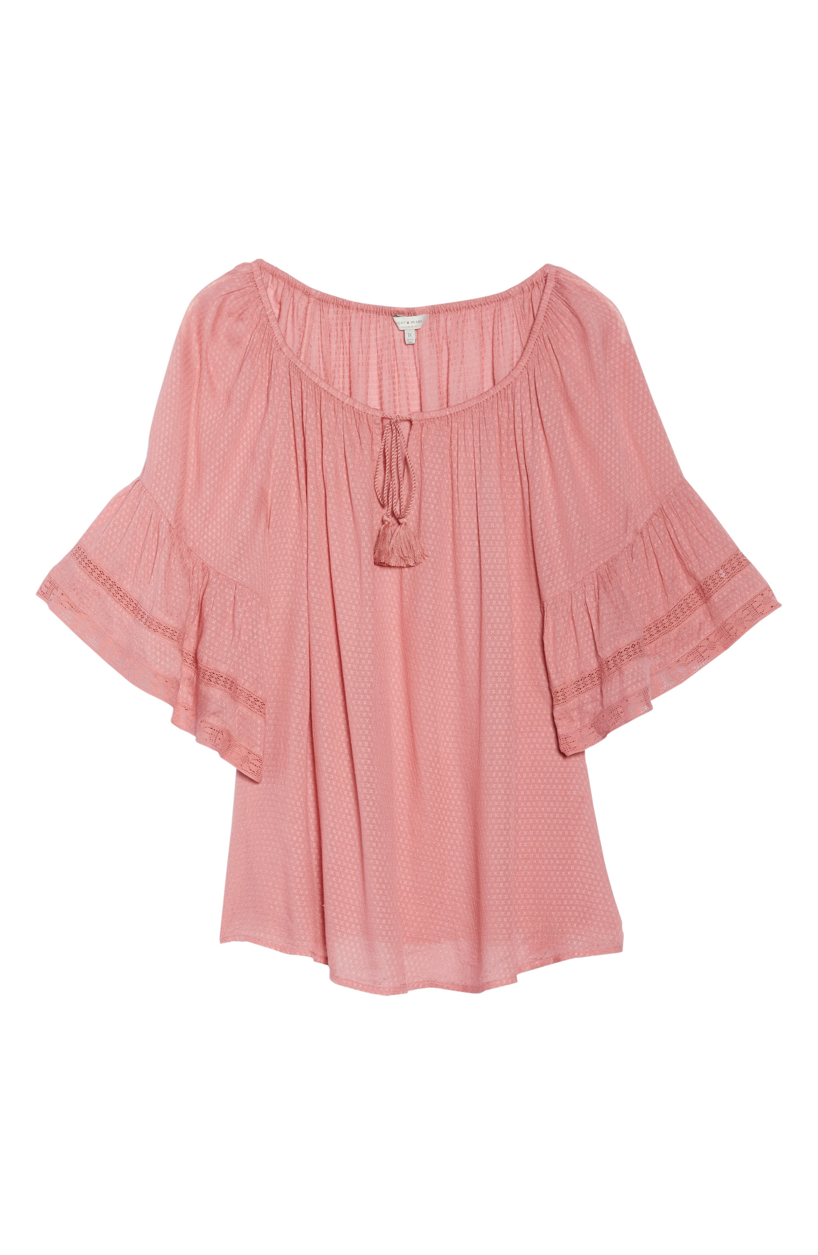 Bell Sleeve Peasant Top,                             Alternate thumbnail 7, color,                             Rose