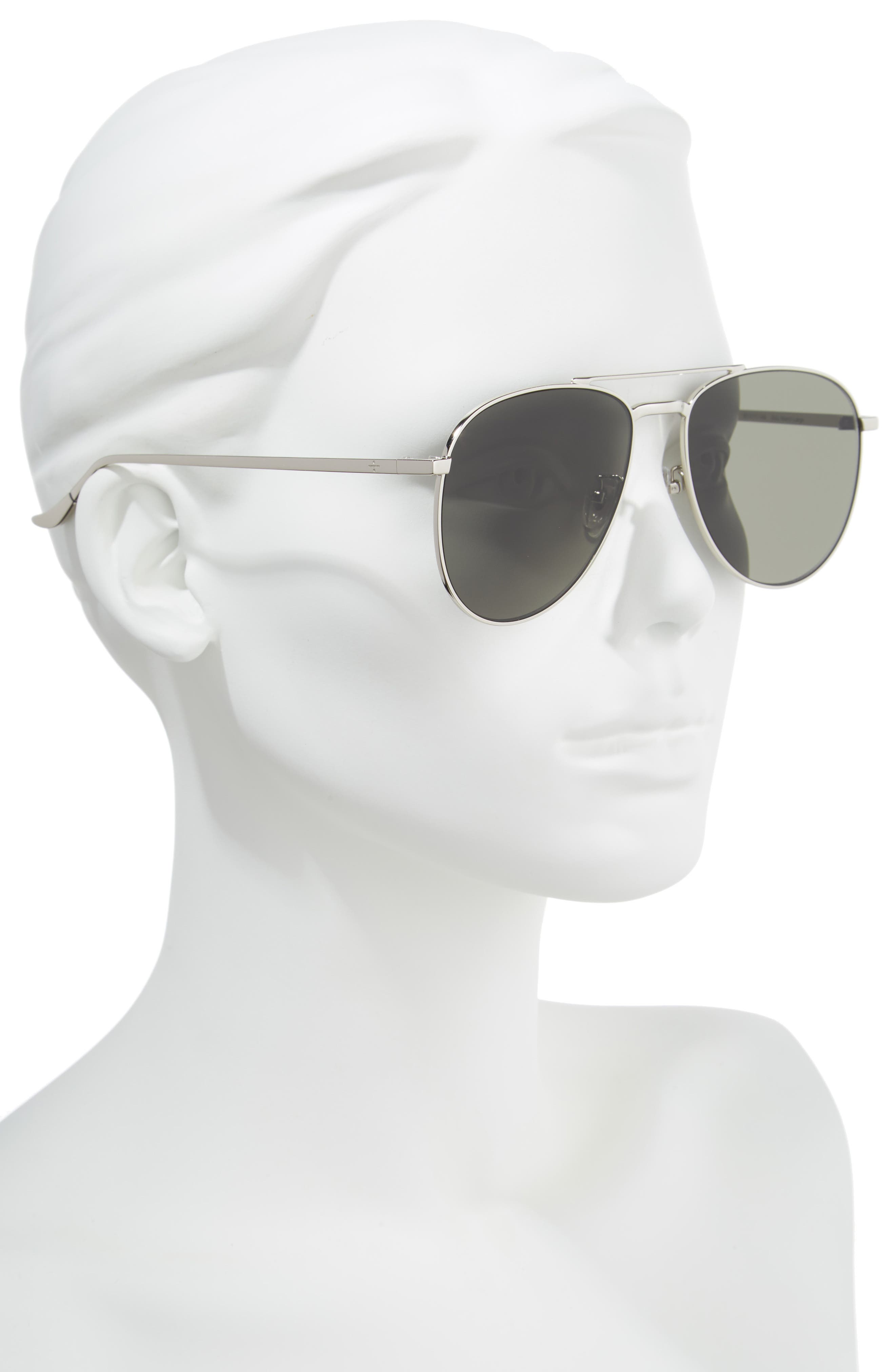 BLANC & ECLARE Miami 61mm Large Polarized Aviator Sunglasses,                             Alternate thumbnail 3, color,                             Silver/ Grey