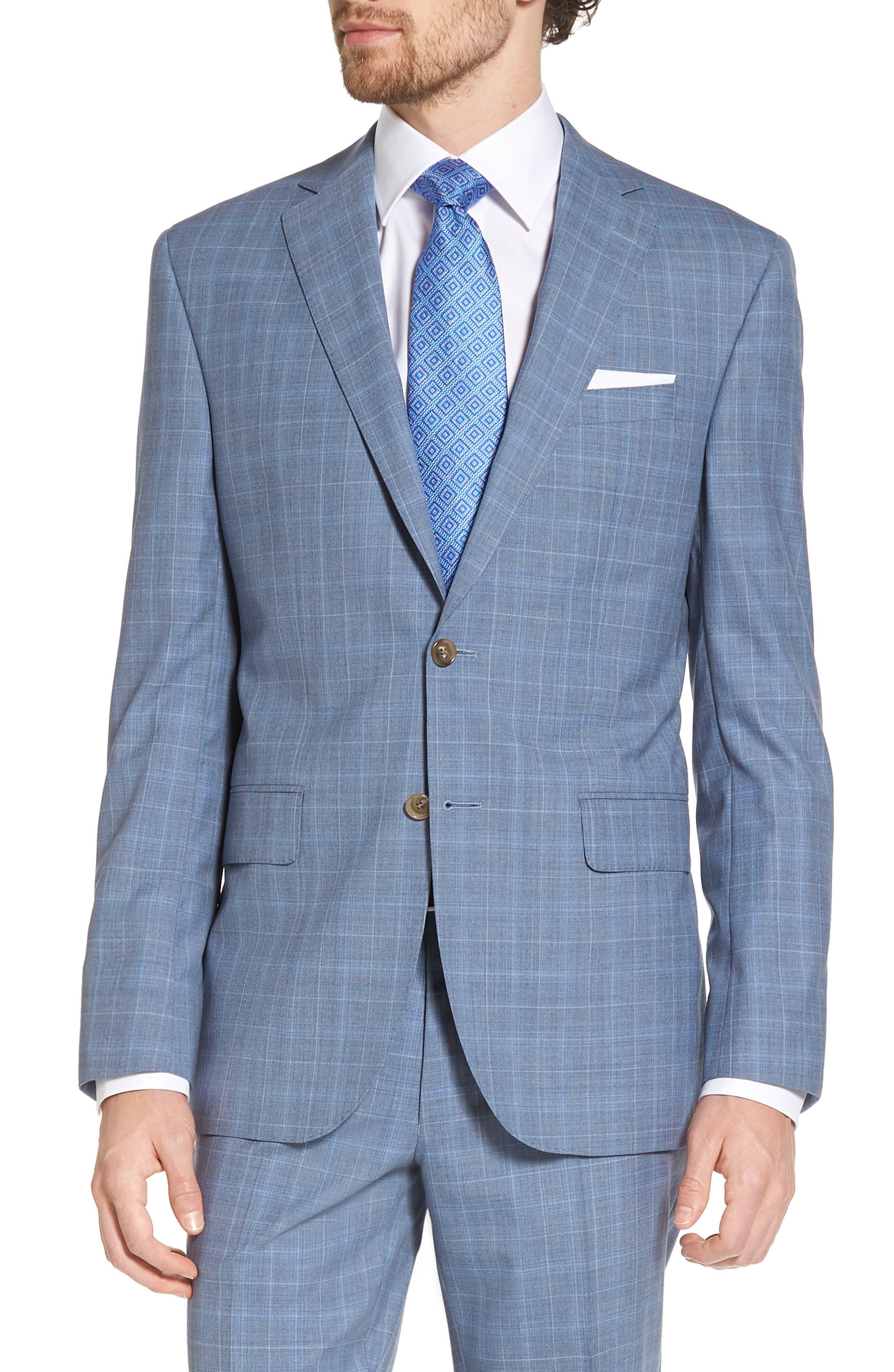 Ryan Classic Fit Plaid Wool Suit,                             Alternate thumbnail 5, color,                             Blue