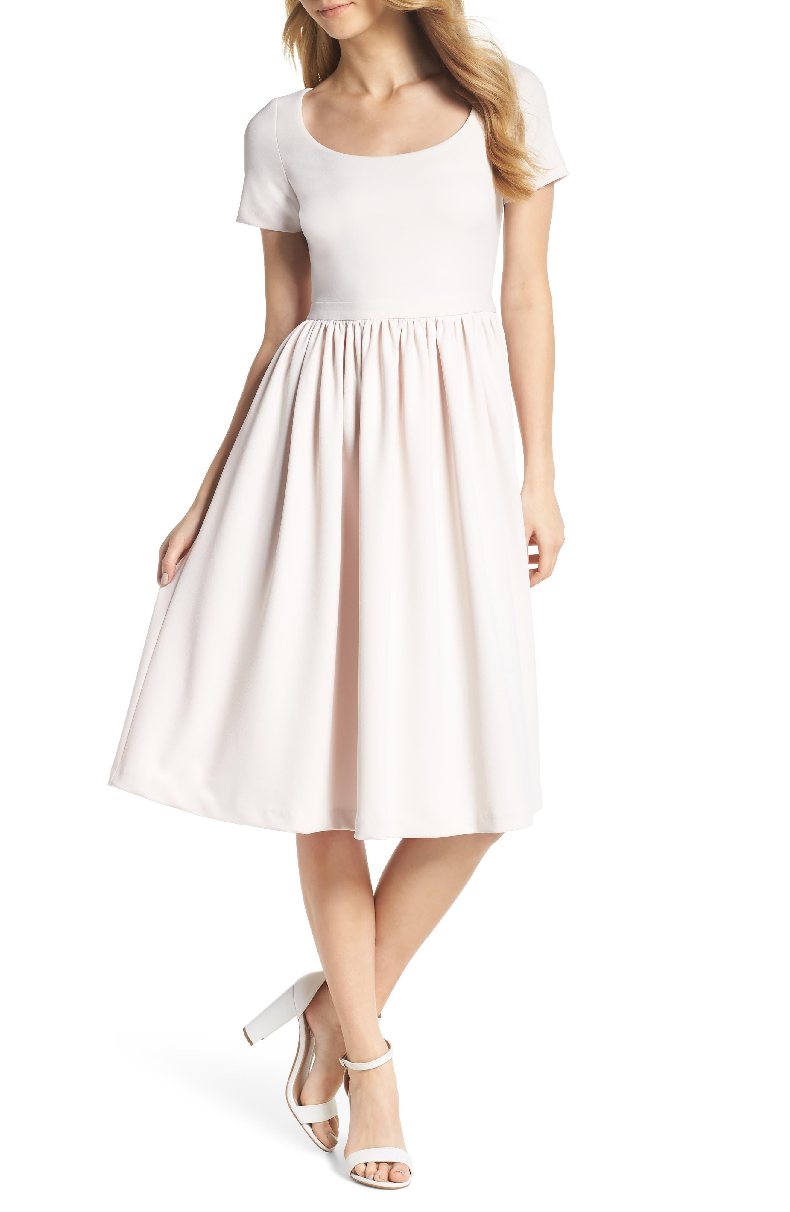 Annie Scuba Crepe Fit & Flare Dress,                             Main thumbnail 1, color,                             Milk