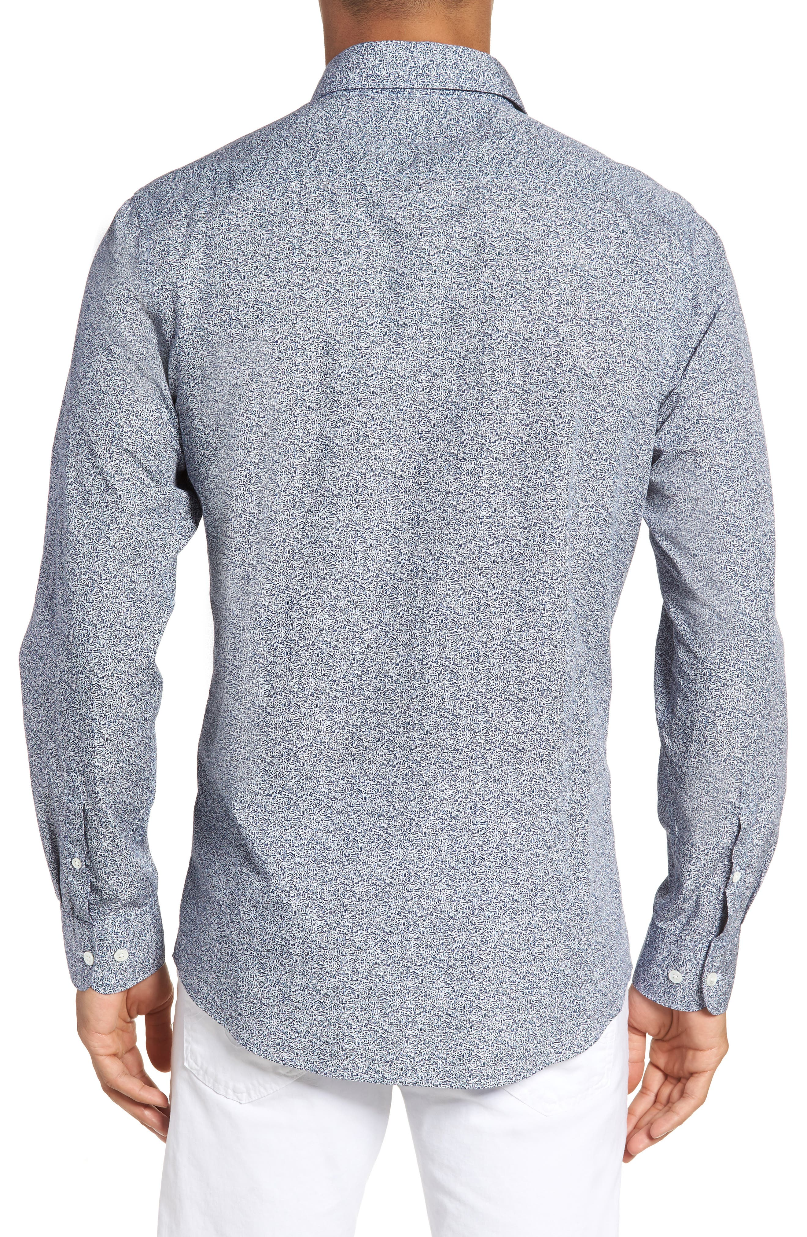 Massey West Slim Fit Sport Shirt,                             Alternate thumbnail 3, color,                             Ink