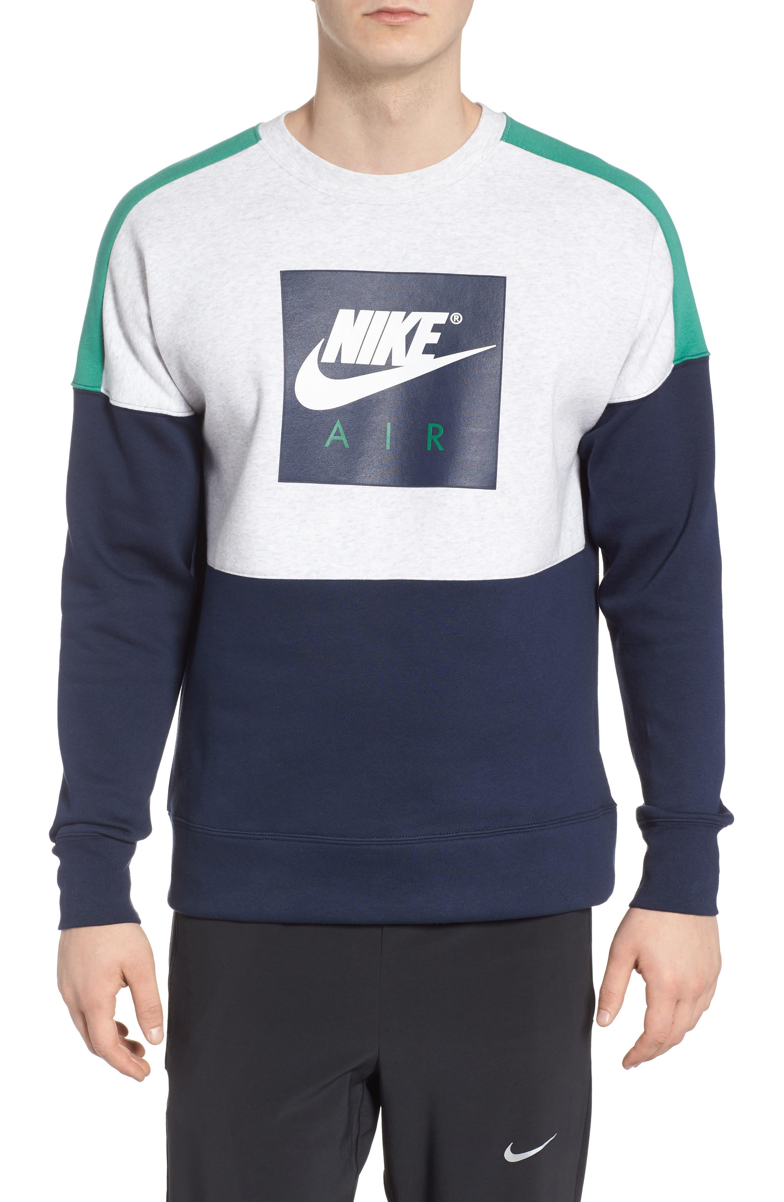 NSW Air Crewneck Sweatshirt,                         Main,                         color, Birch/ Green/ Obsidian/ White