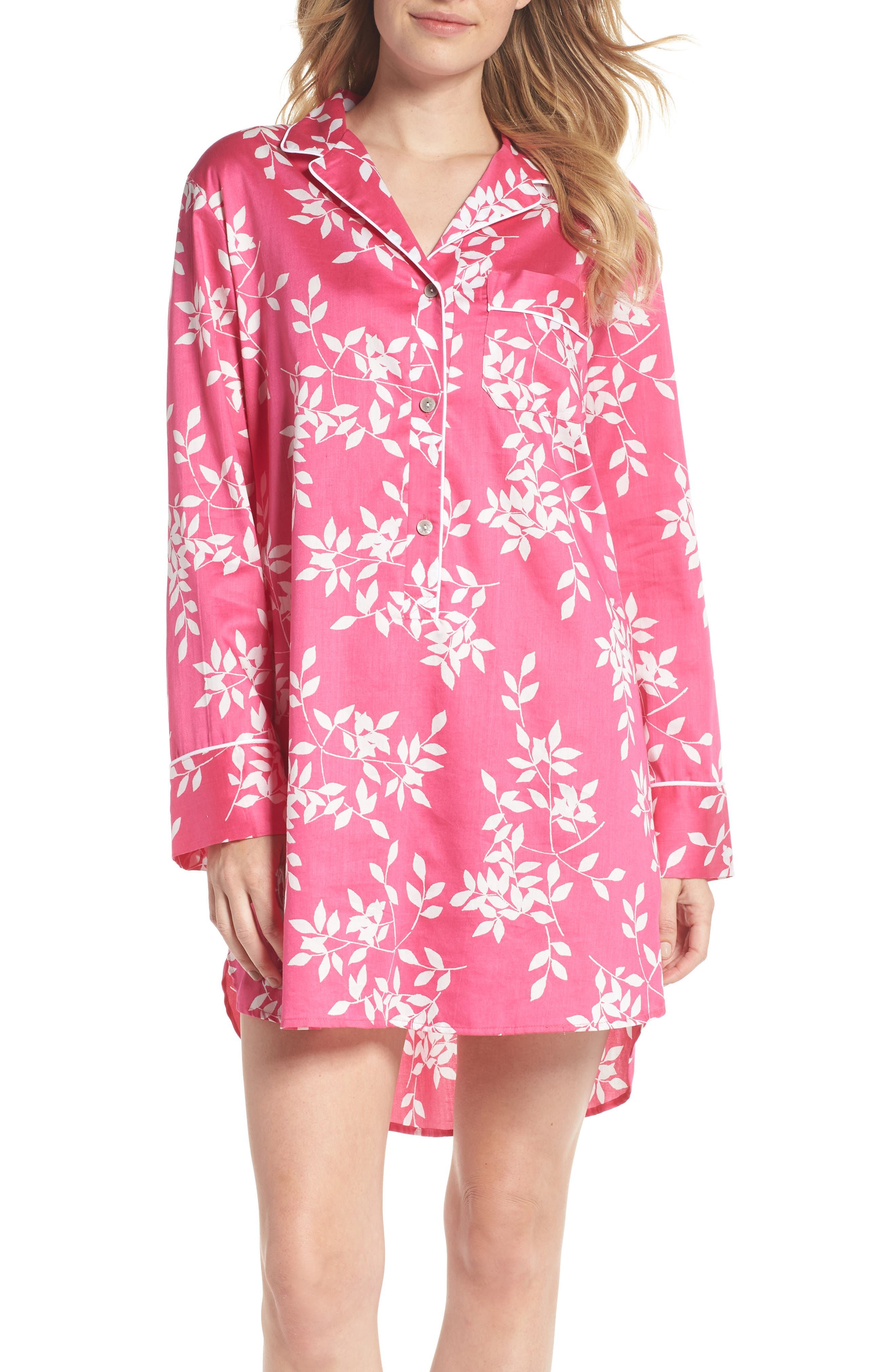 Branch Print Cotton Sateen Sleep Shirt,                             Main thumbnail 1, color,                             Hibiscus Pink