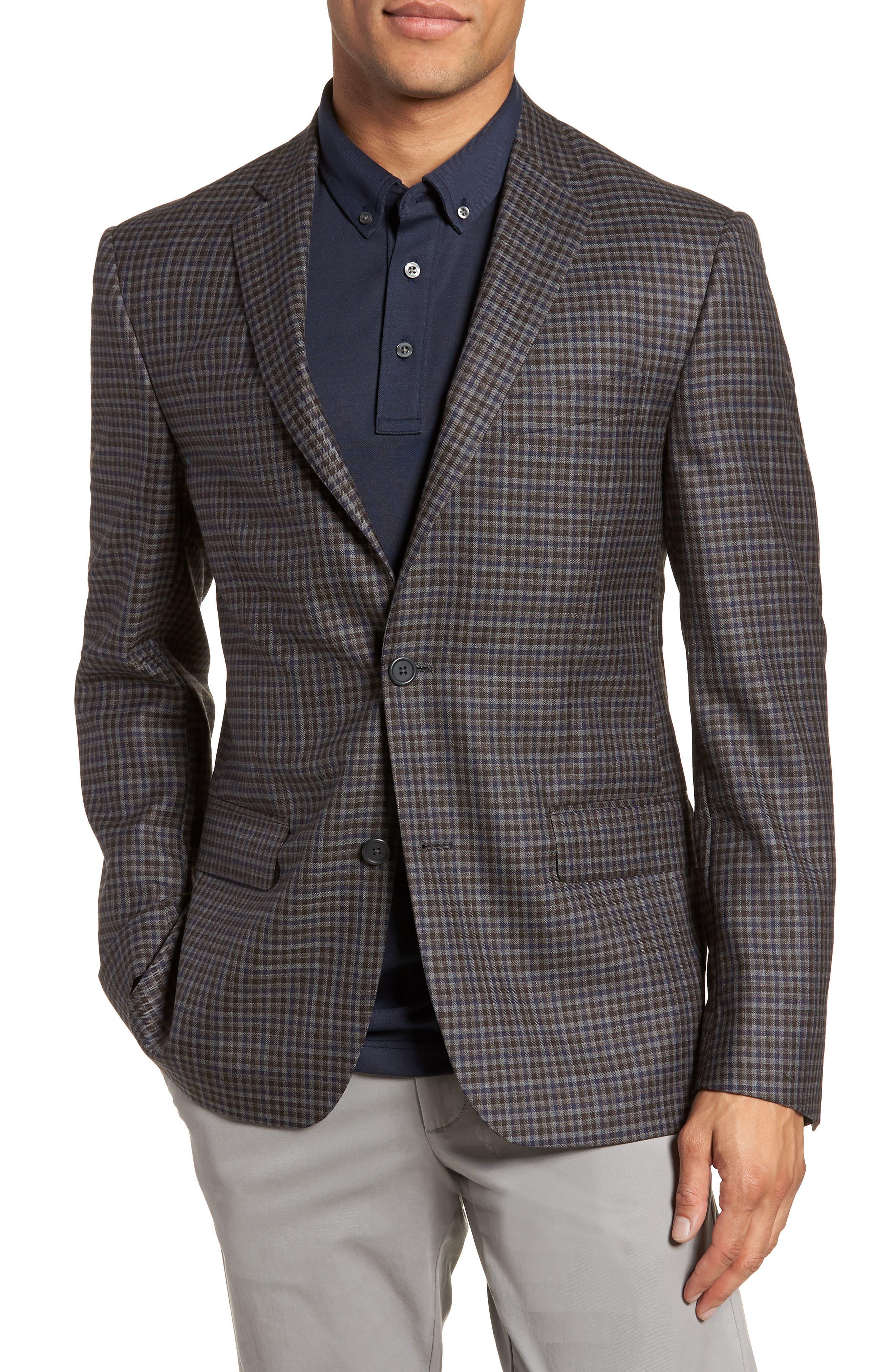 Nordstrom Men's Shop Trim Fit Check Wool Sport Coat