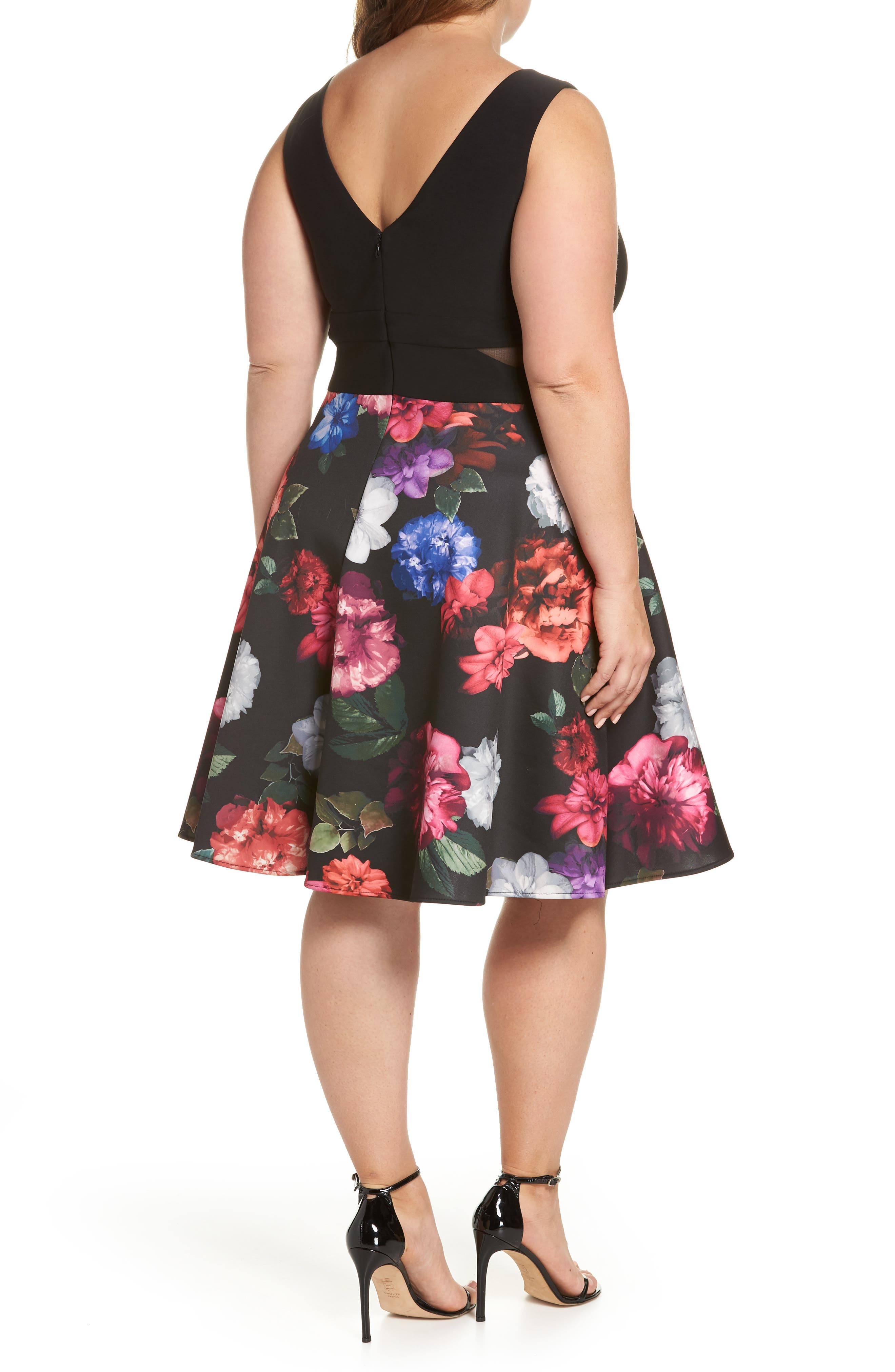 Floral Print Fit & Flare Dress,                             Alternate thumbnail 2, color,                             Black/ Purple