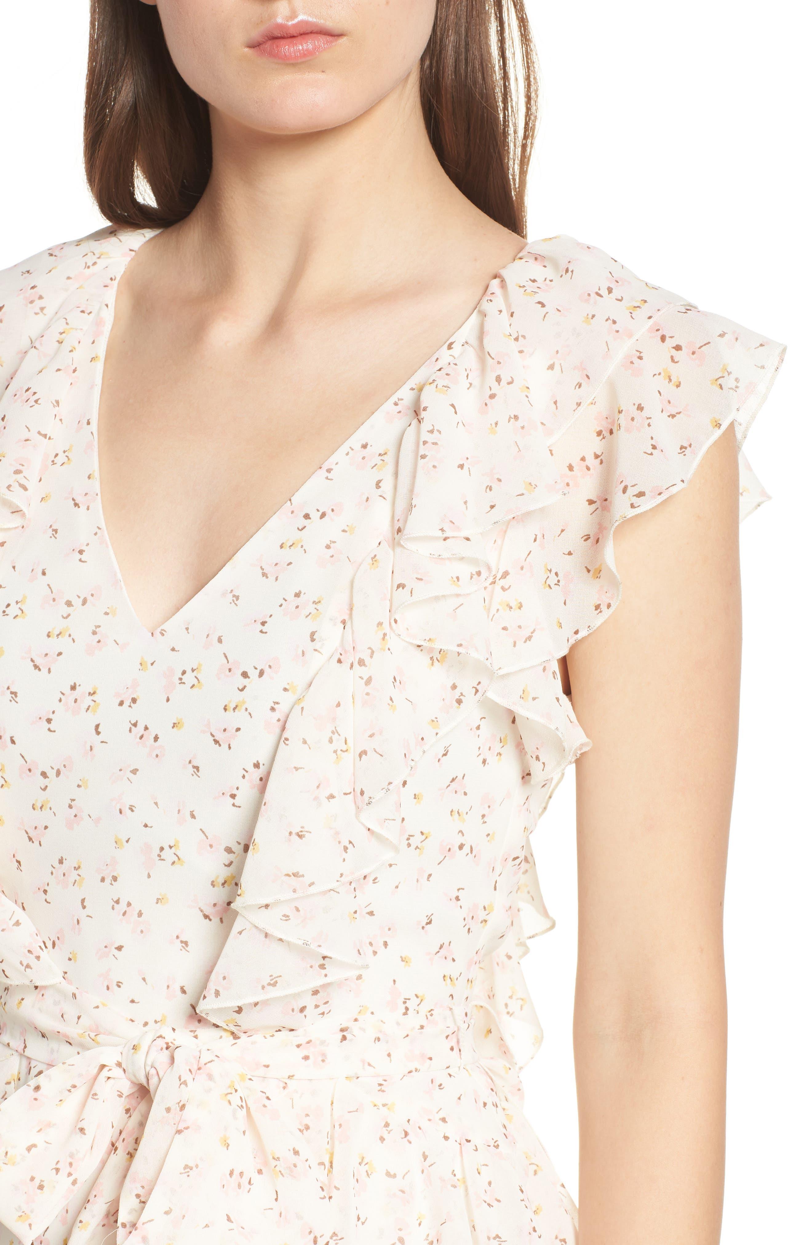 Terni Ruffle Minidress,                             Alternate thumbnail 4, color,                             Ivory Ditzy