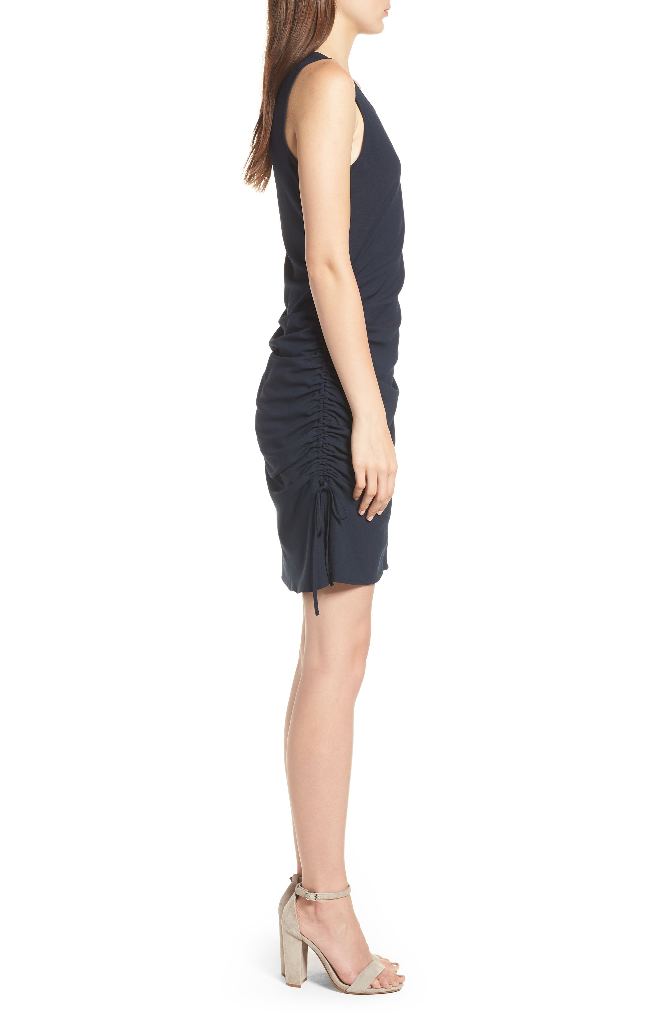 Side Shirred Tank Dress,                             Alternate thumbnail 3, color,                             Navy Sapphire