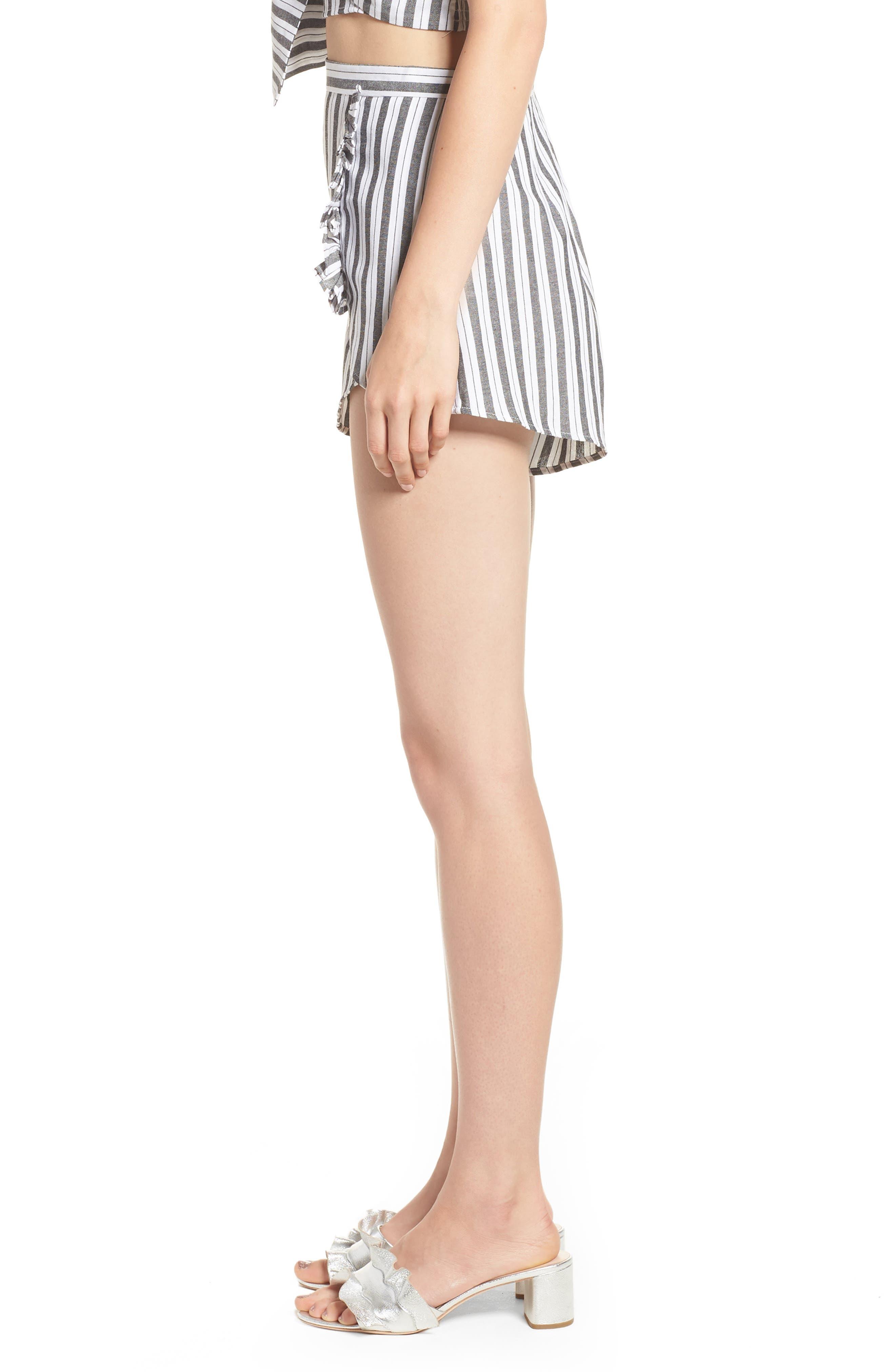 Acacia Stripe High Waist Shorts,                             Alternate thumbnail 4, color,                             Black W White