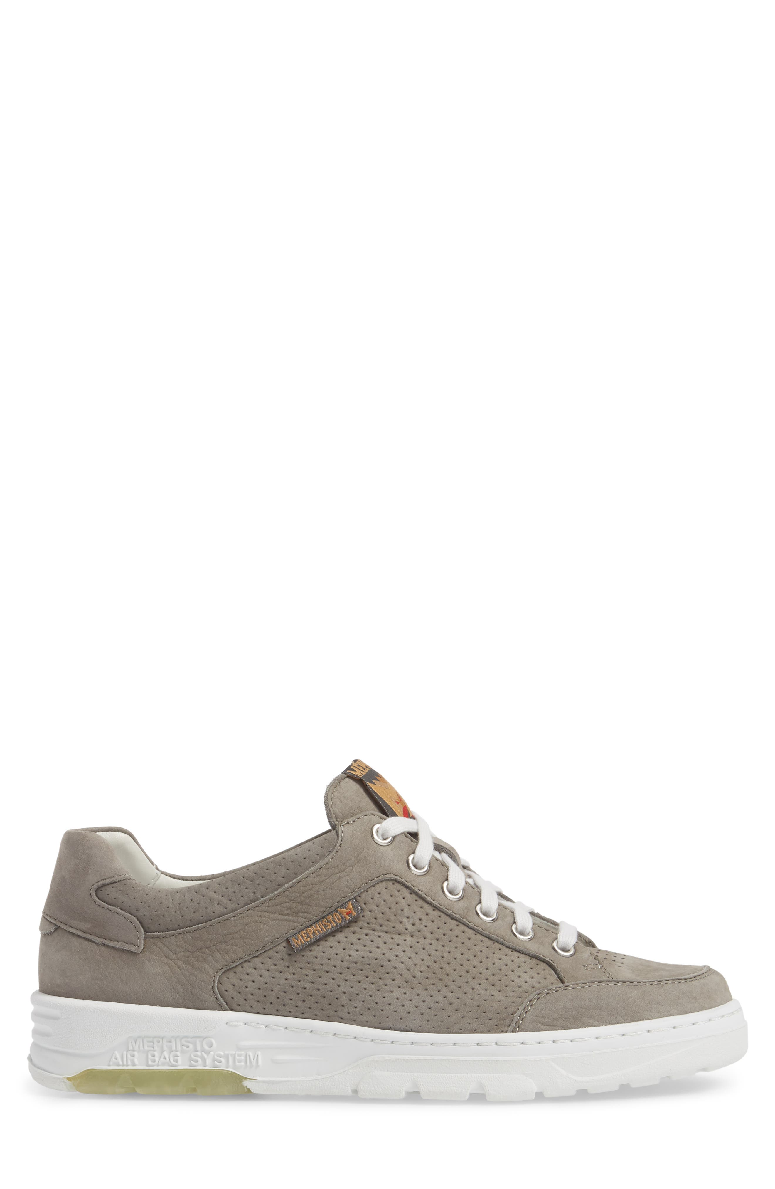 Mathias Perforated Sneaker,                             Alternate thumbnail 3, color,                             Light Grey