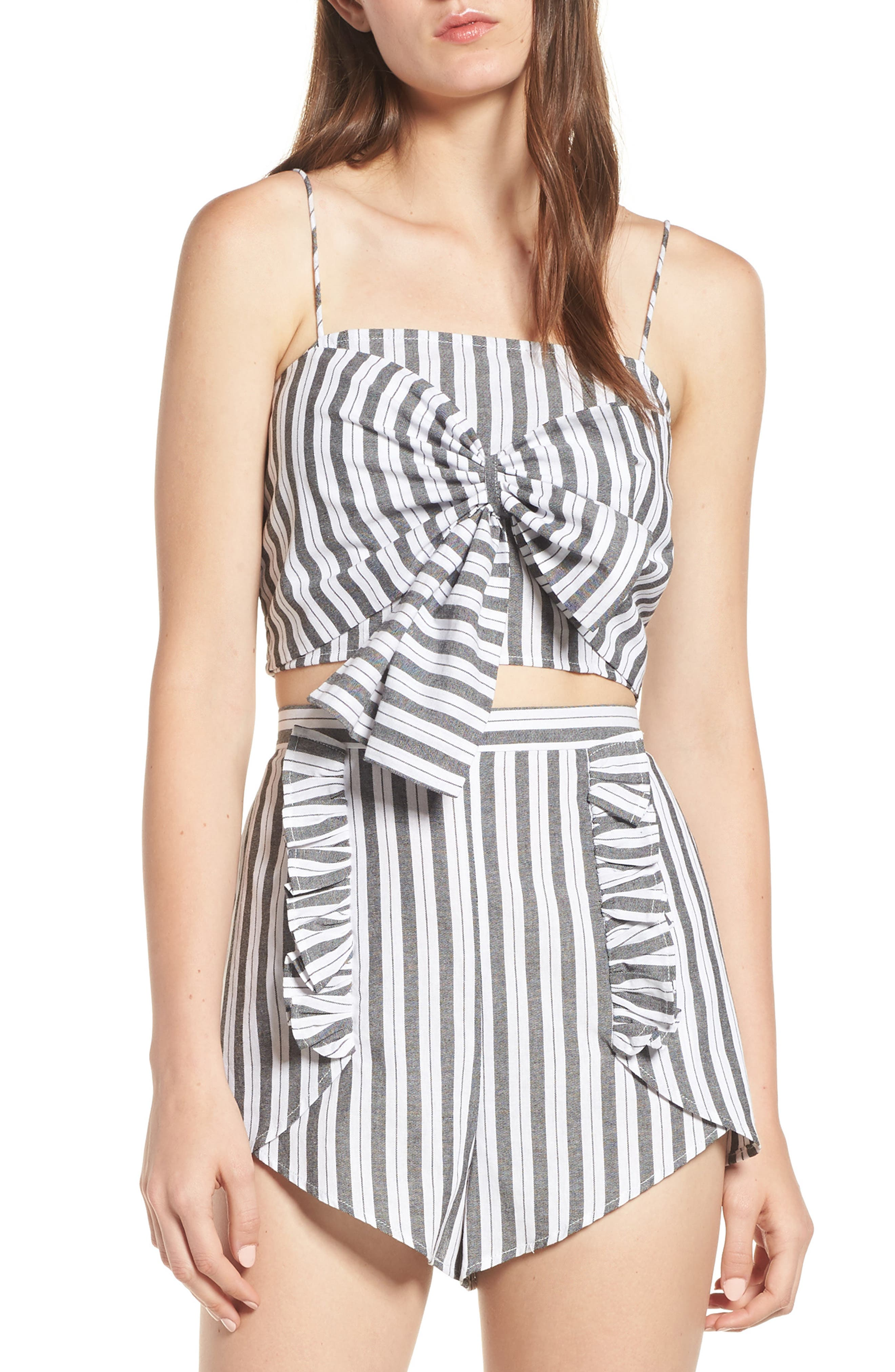Acacia Stripe Knotted Crop Top,                             Main thumbnail 1, color,                             Black W White