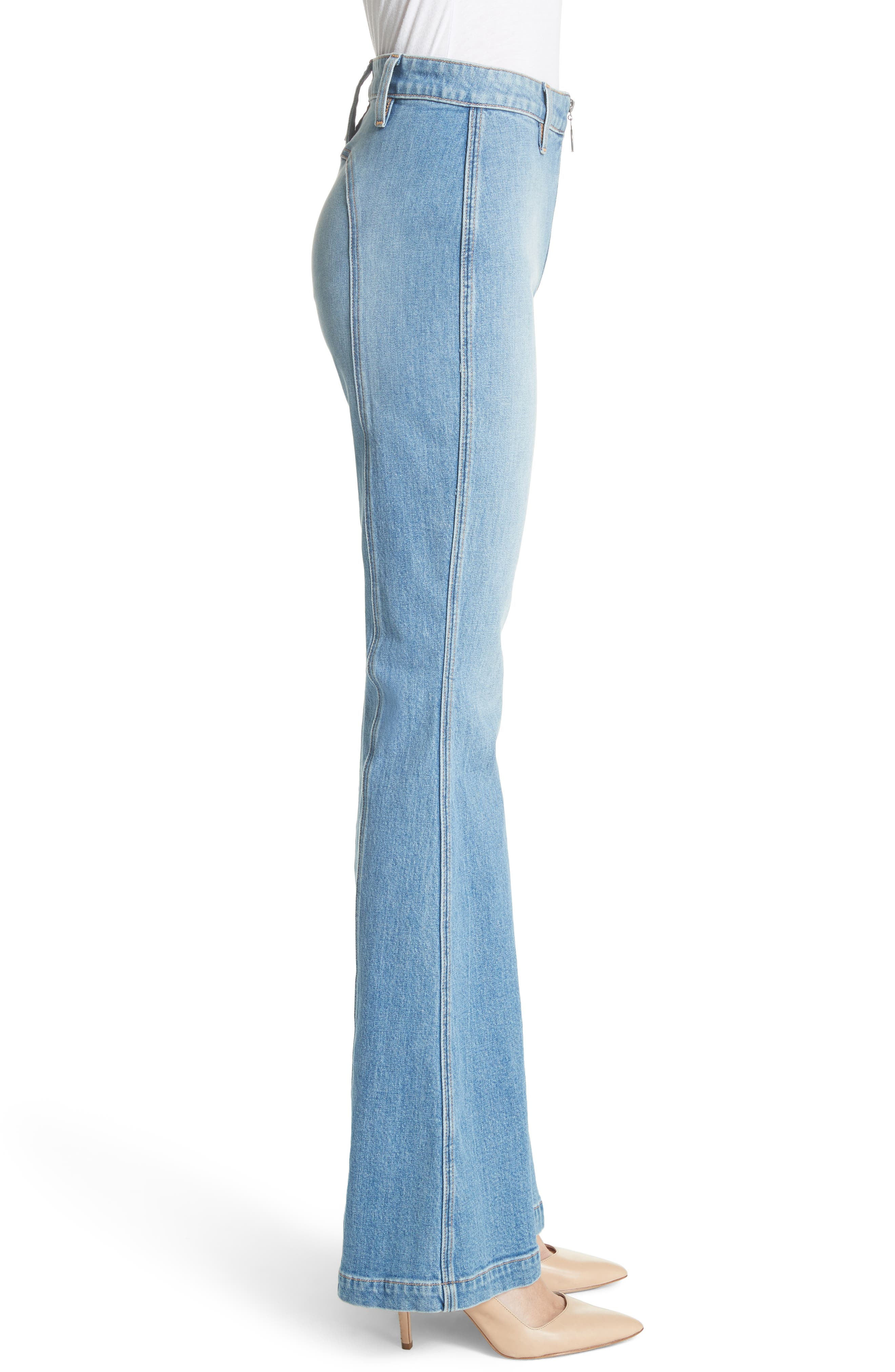 AO.LA Beautiful Exposed Zip Bell Bottom Jeans,                             Alternate thumbnail 3, color,                             Sweet Emotion