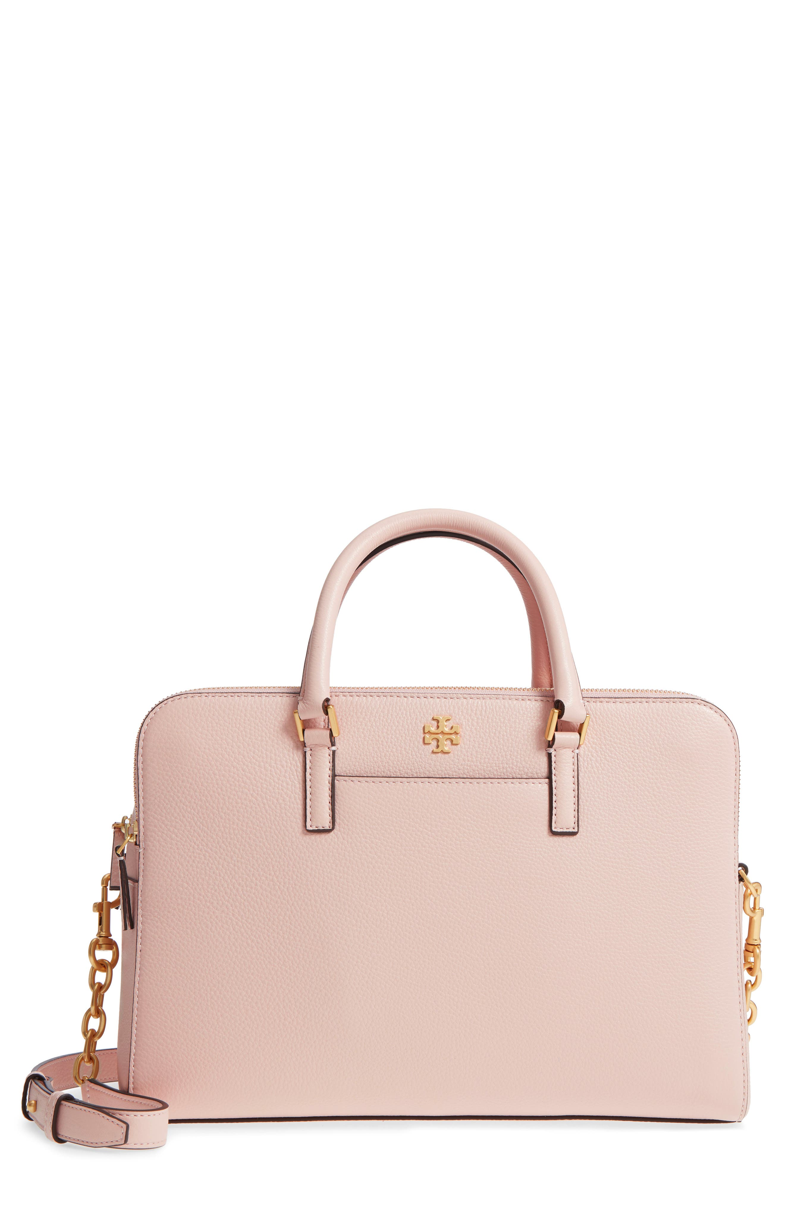 Georgia Double Zip Pebbled Leather Satchel,                             Main thumbnail 1, color,                             Shell Pink